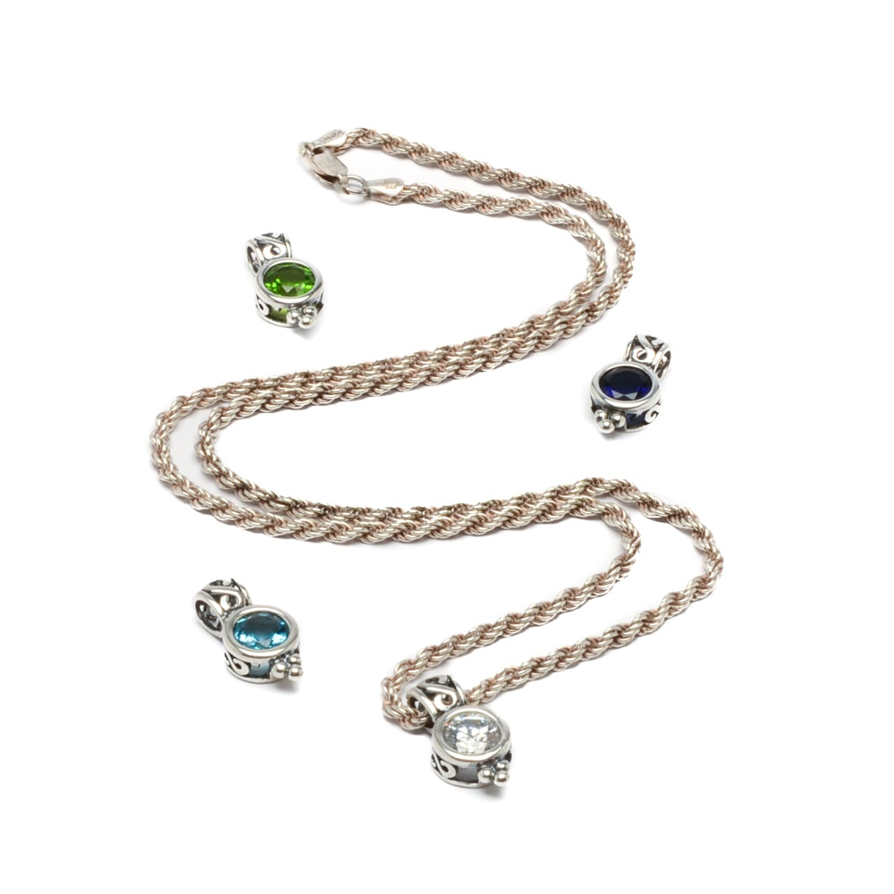 Sterling Silver Twisted Rope Chain with Interchangeable Glass Pendants