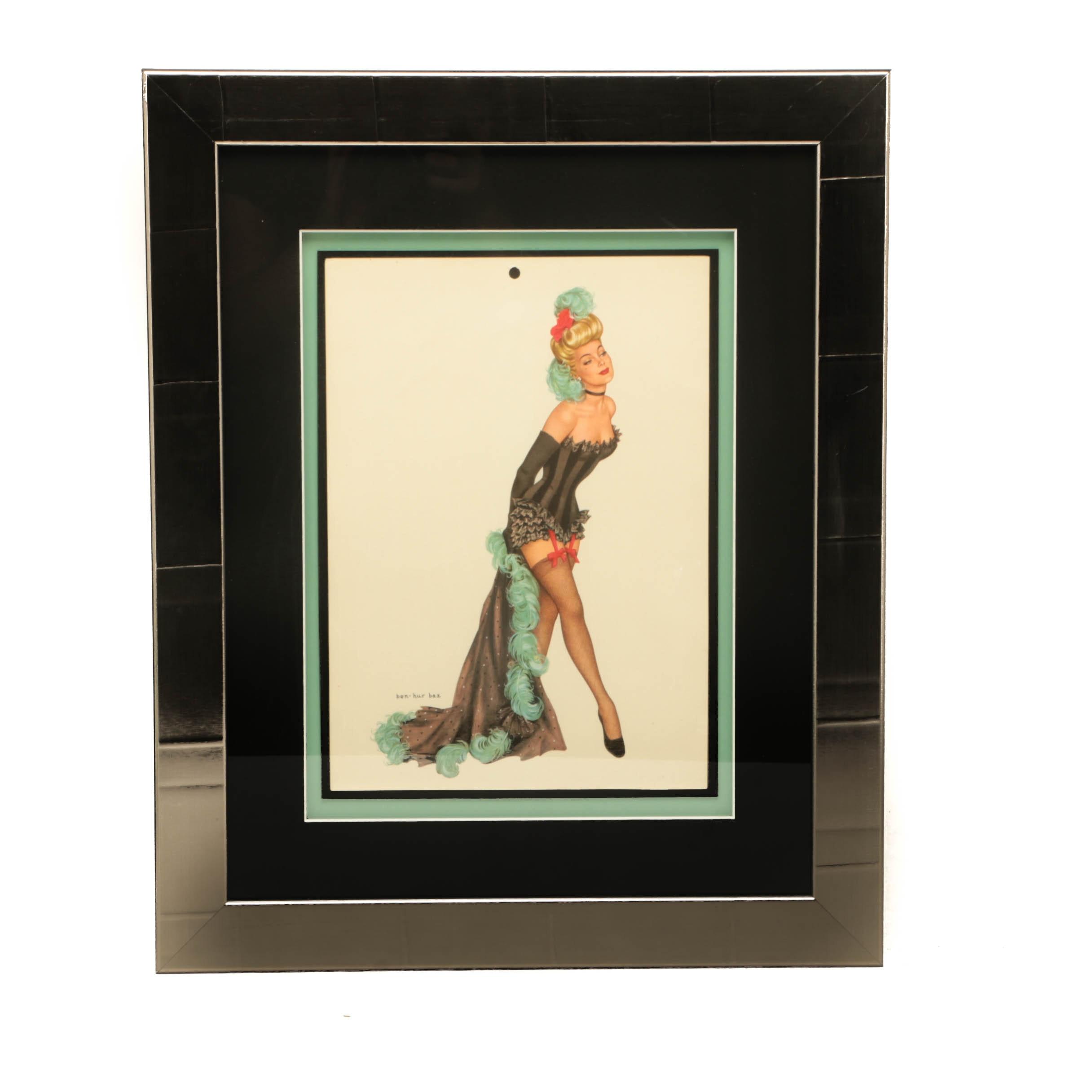Vintage Offset Lithograph Print of Pinup Girl after Ben-Hur Baz
