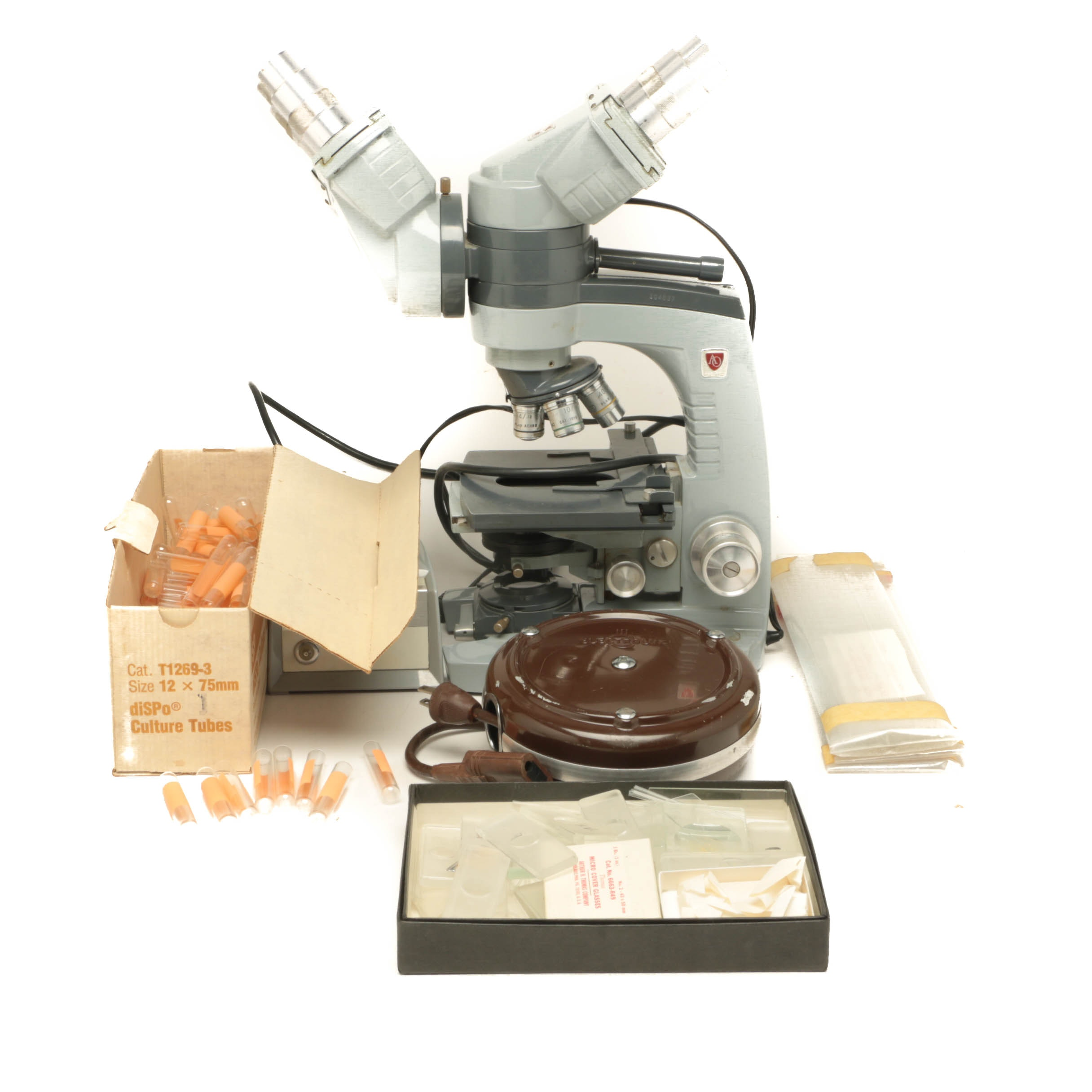 American Optical Spencer Microscope with Glass Slides, Rods and Test Tubes