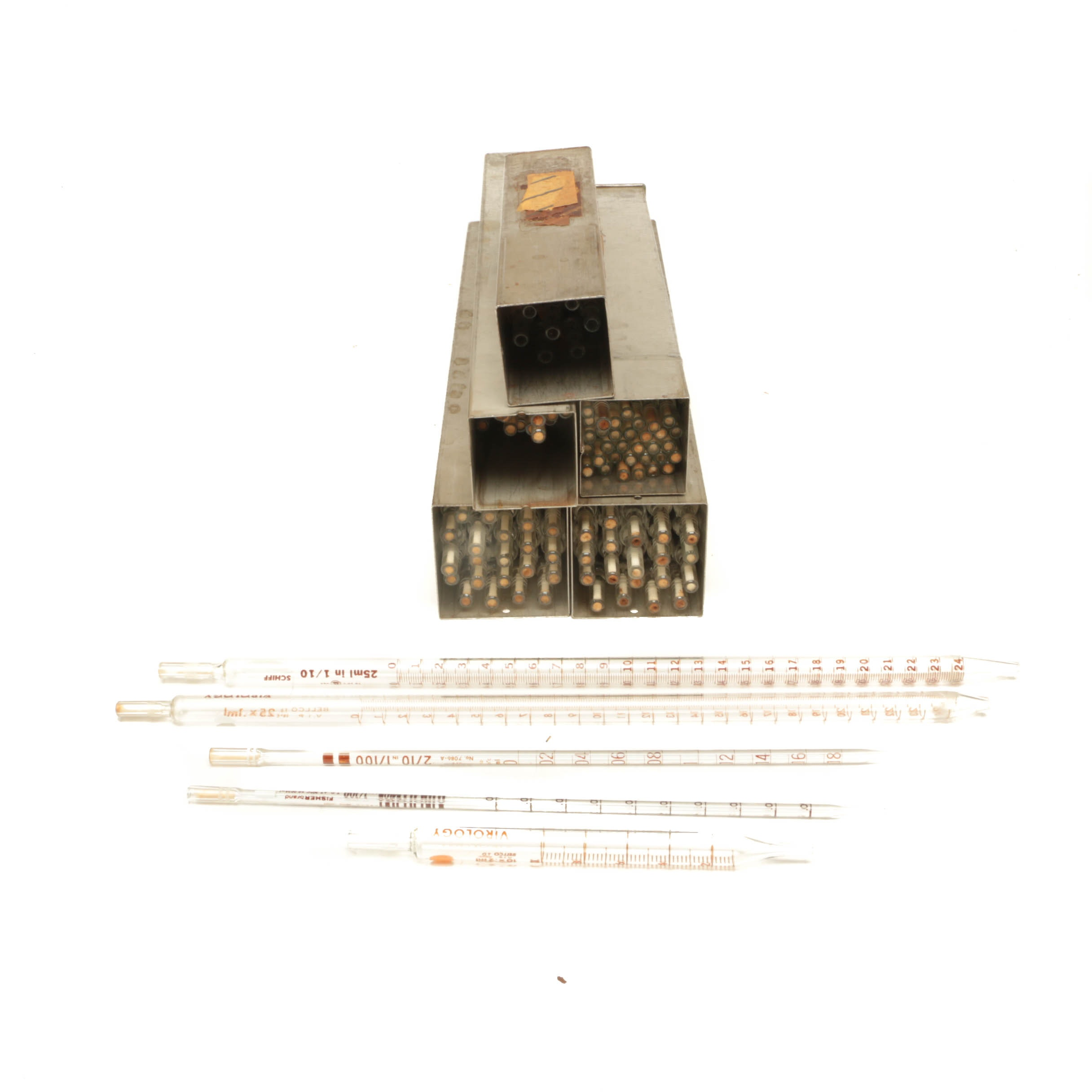 Vintage Schiff and Fisher Glass Volumetric Graduated Virology Pipettes