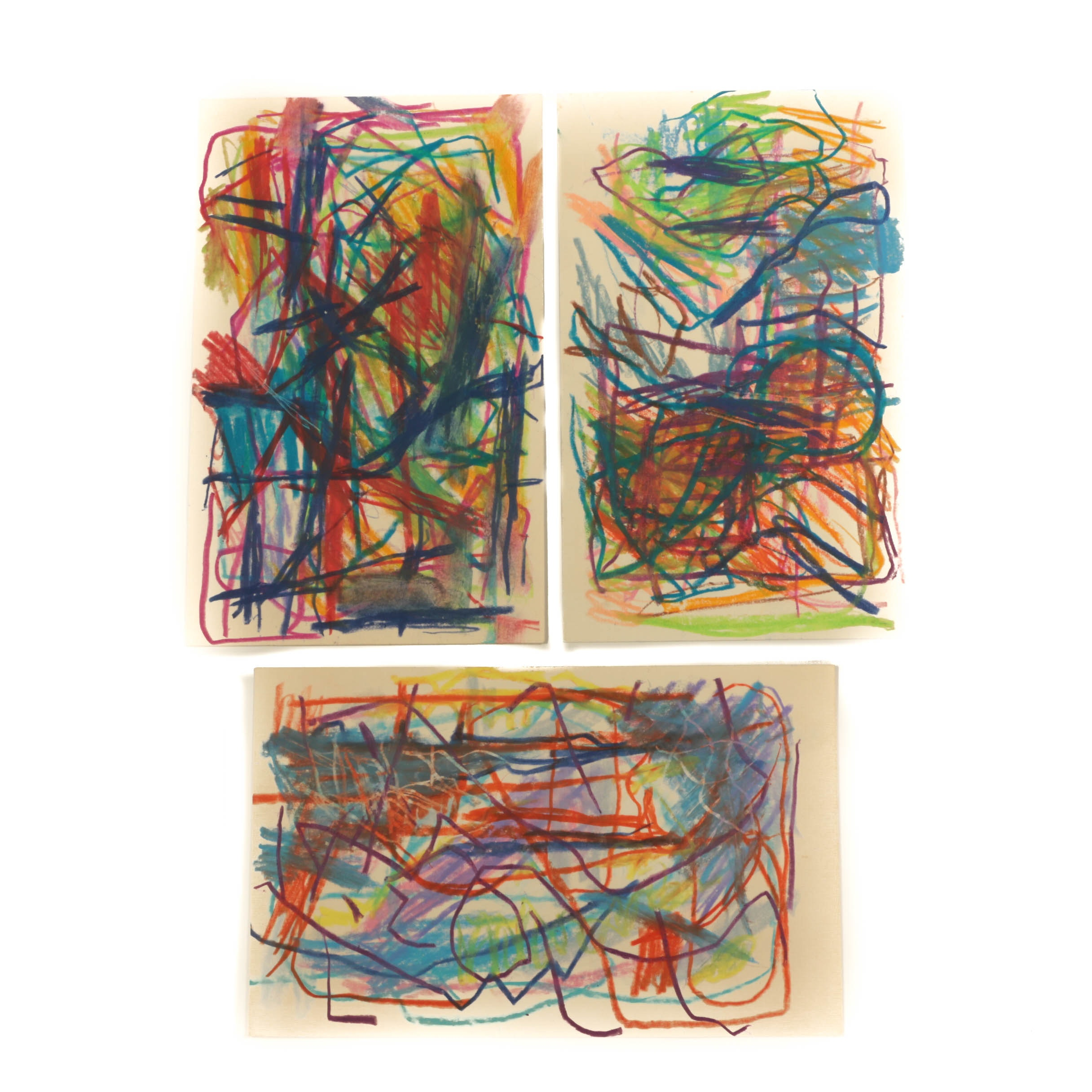 Paul Chidlaw Original Abstract Pastel Drawings on Paper