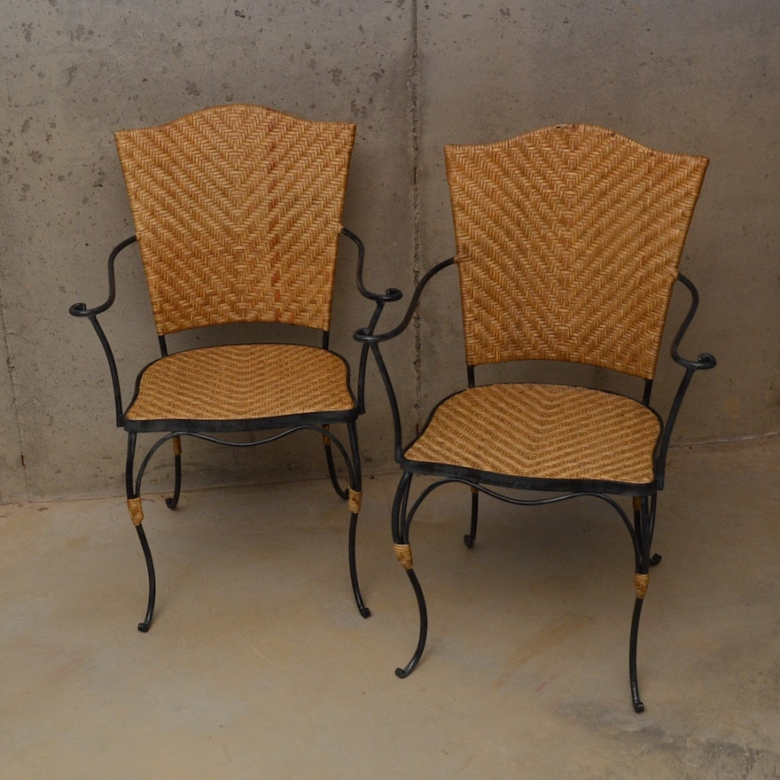 Pair Of Wicker And Wrought Iron Chairs Ebth