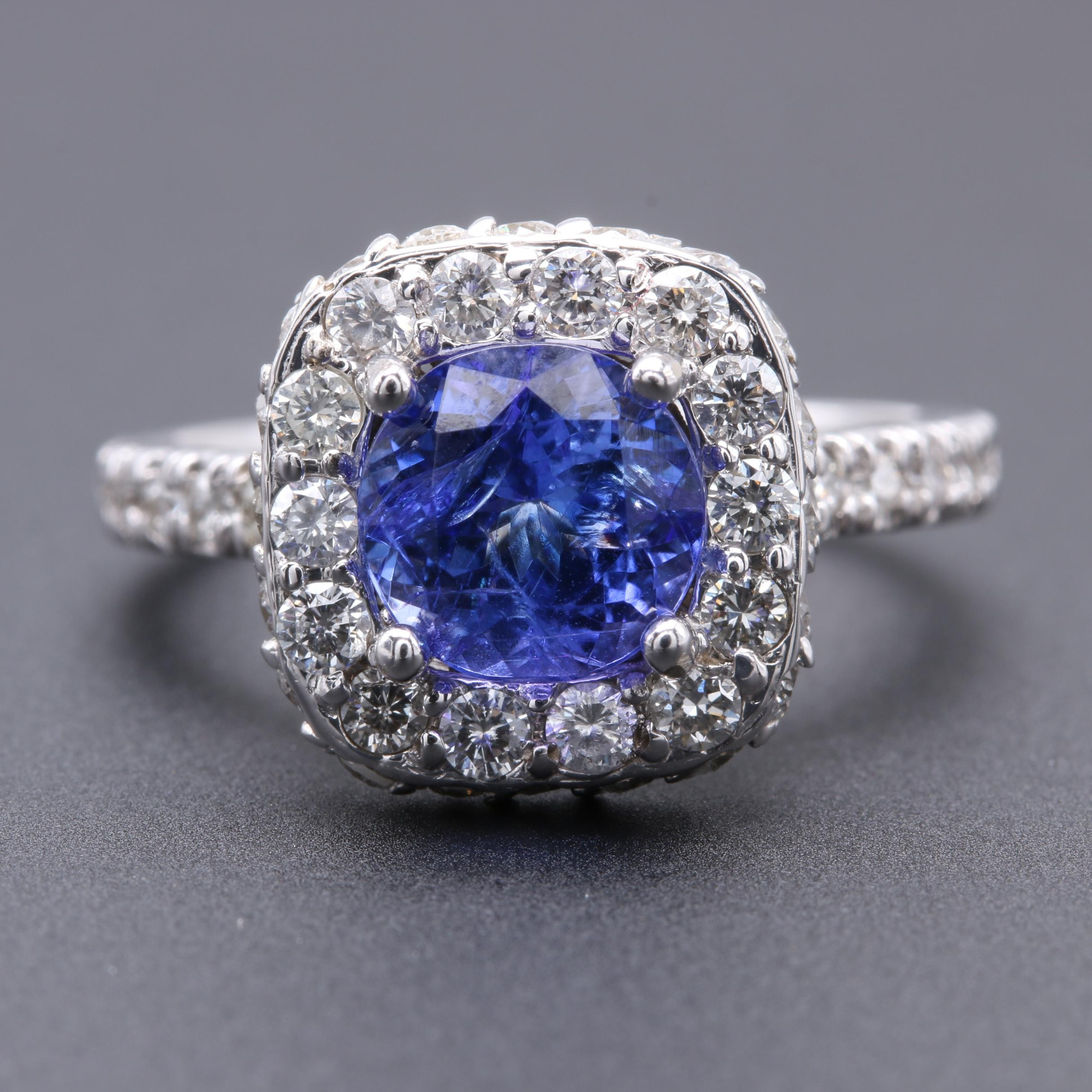 14K White Gold Tanzanite and 1.00 CTW Diamond Ring