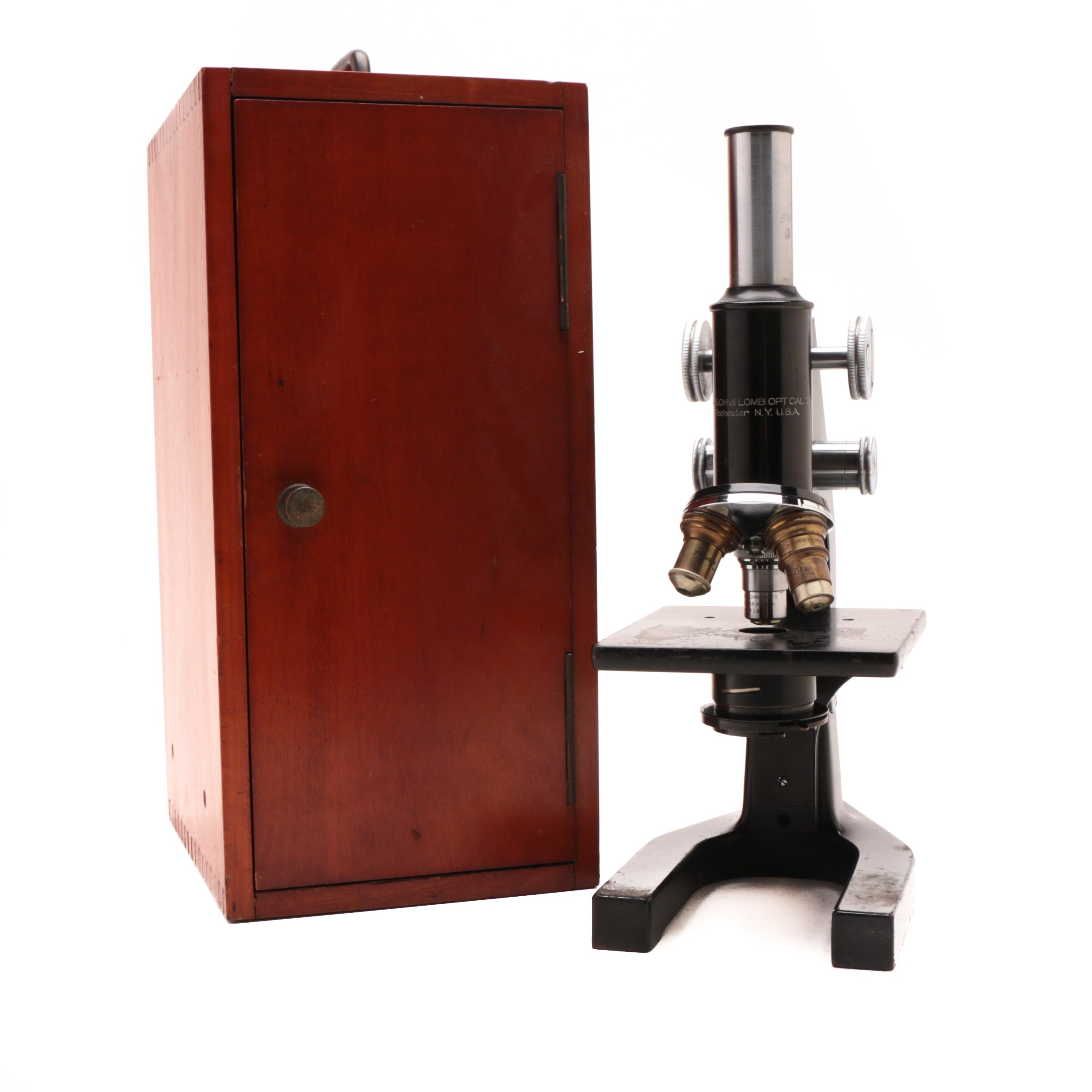 Vintage Bausch and Lomb Microscope with Wooden Case