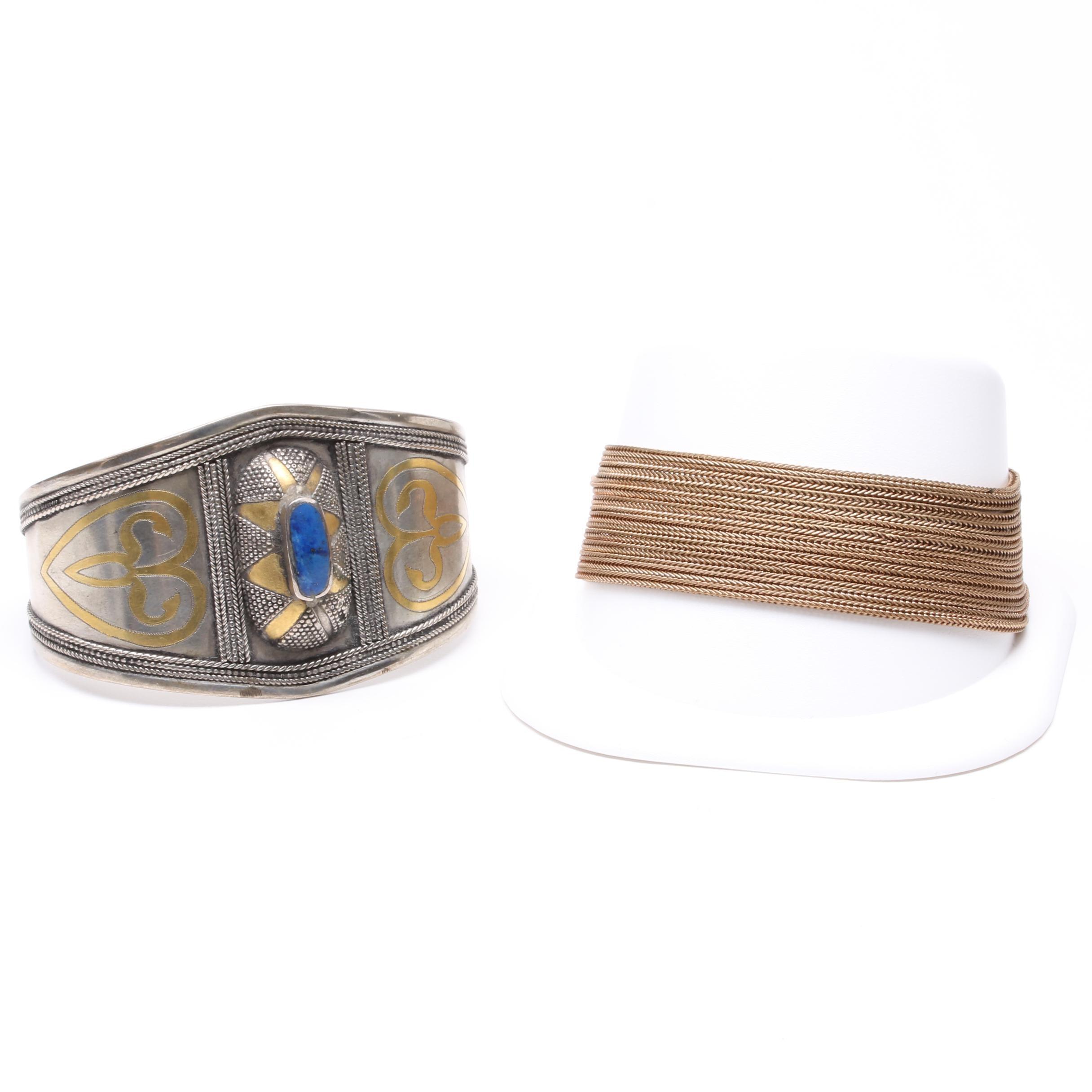 Costume Lapis Lazuli Bracelets Including an Egyptian Revival Style