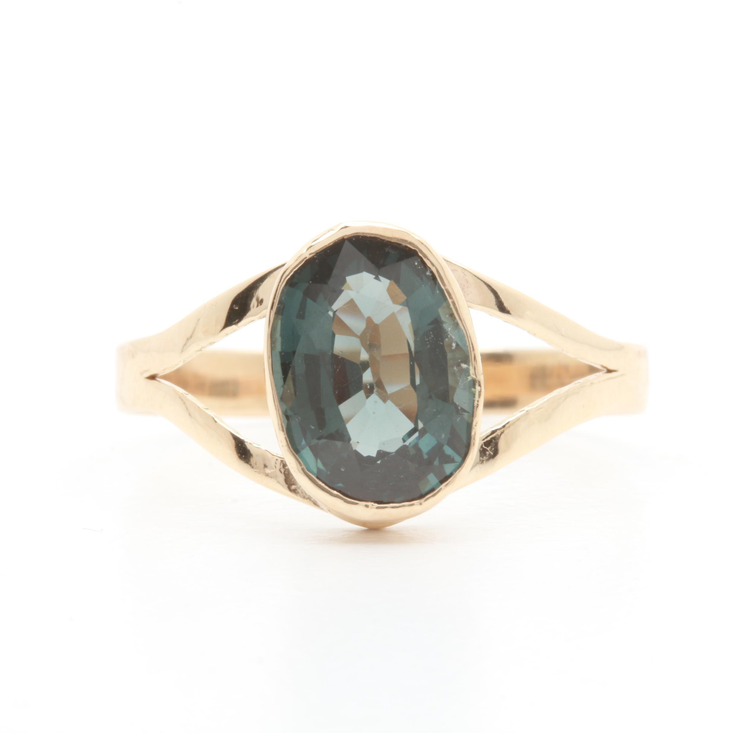 14K Yellow Gold Blue Spinel Ring