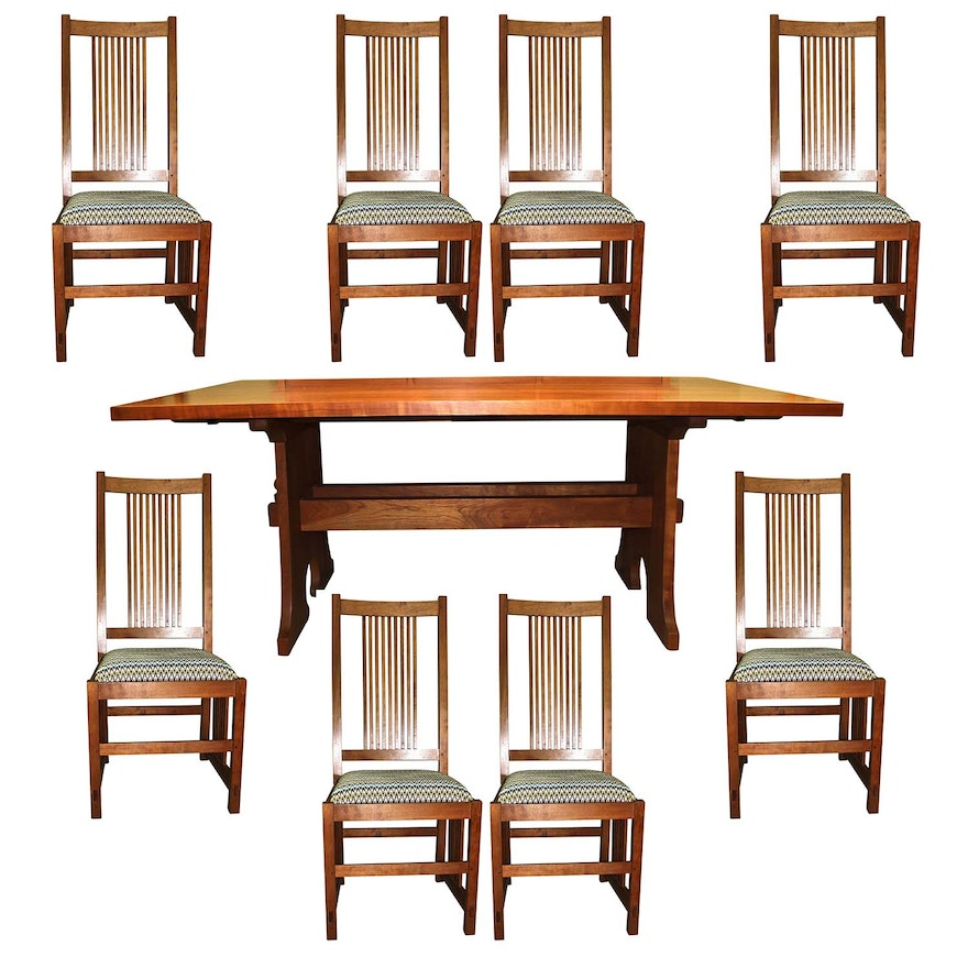Stickley Mission Style Cherry Dining Table With Eight Chairs EBTH