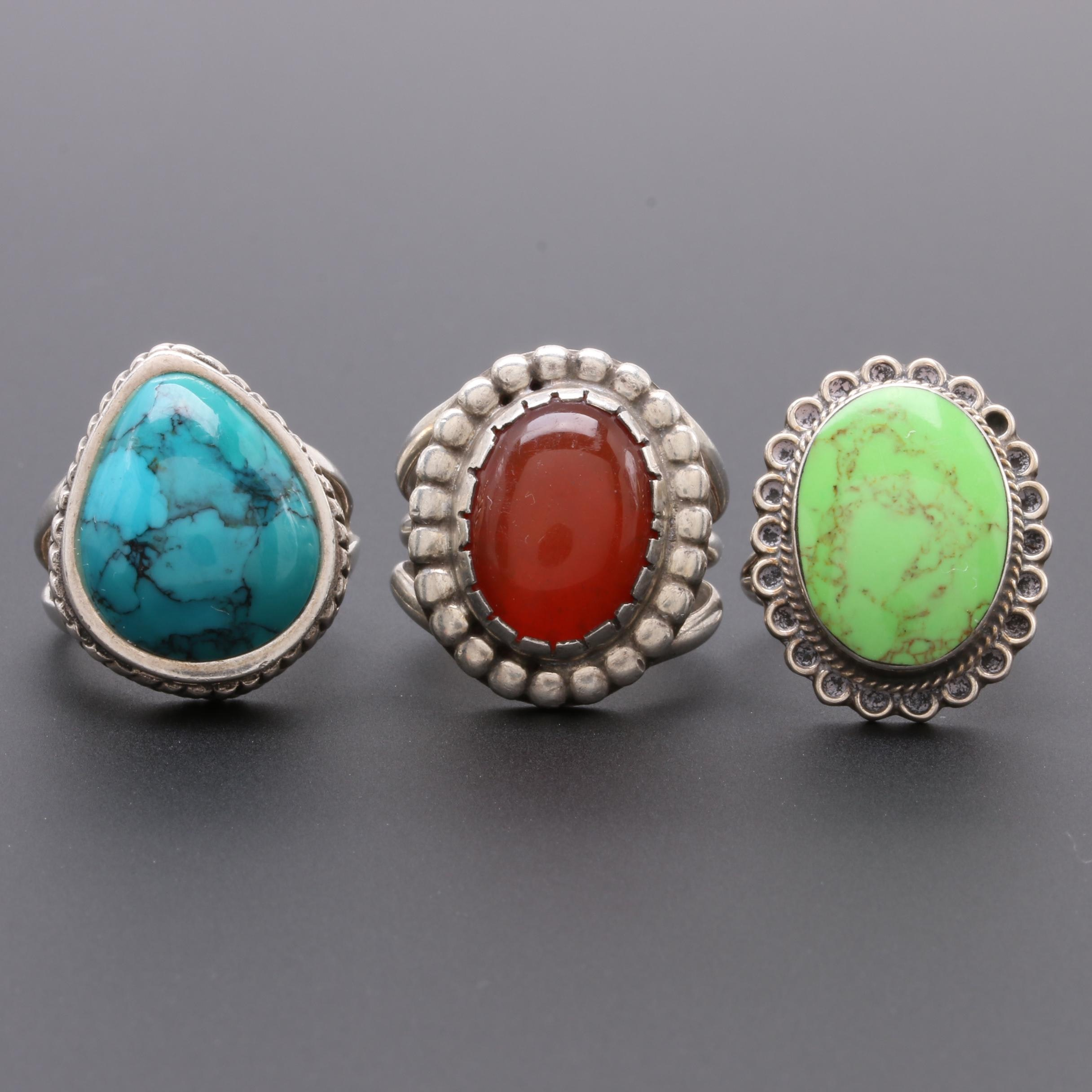 Sterling Silver Ring Selection Including Gaspeite, Turquoise, and Carnelian