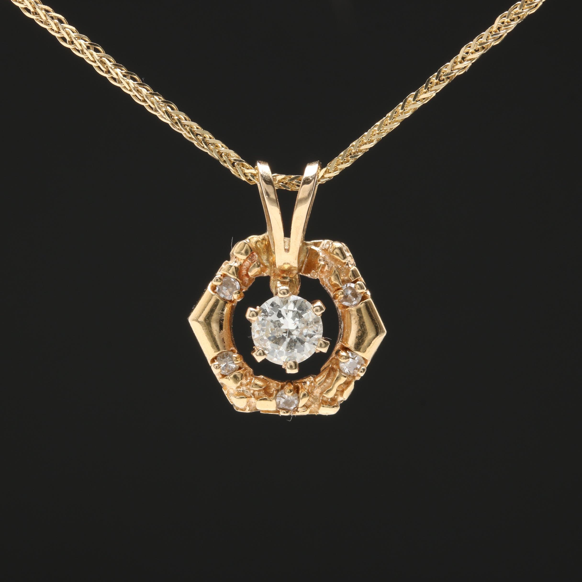 14K Yellow Gold Diamond Hexagon Pendant Necklace