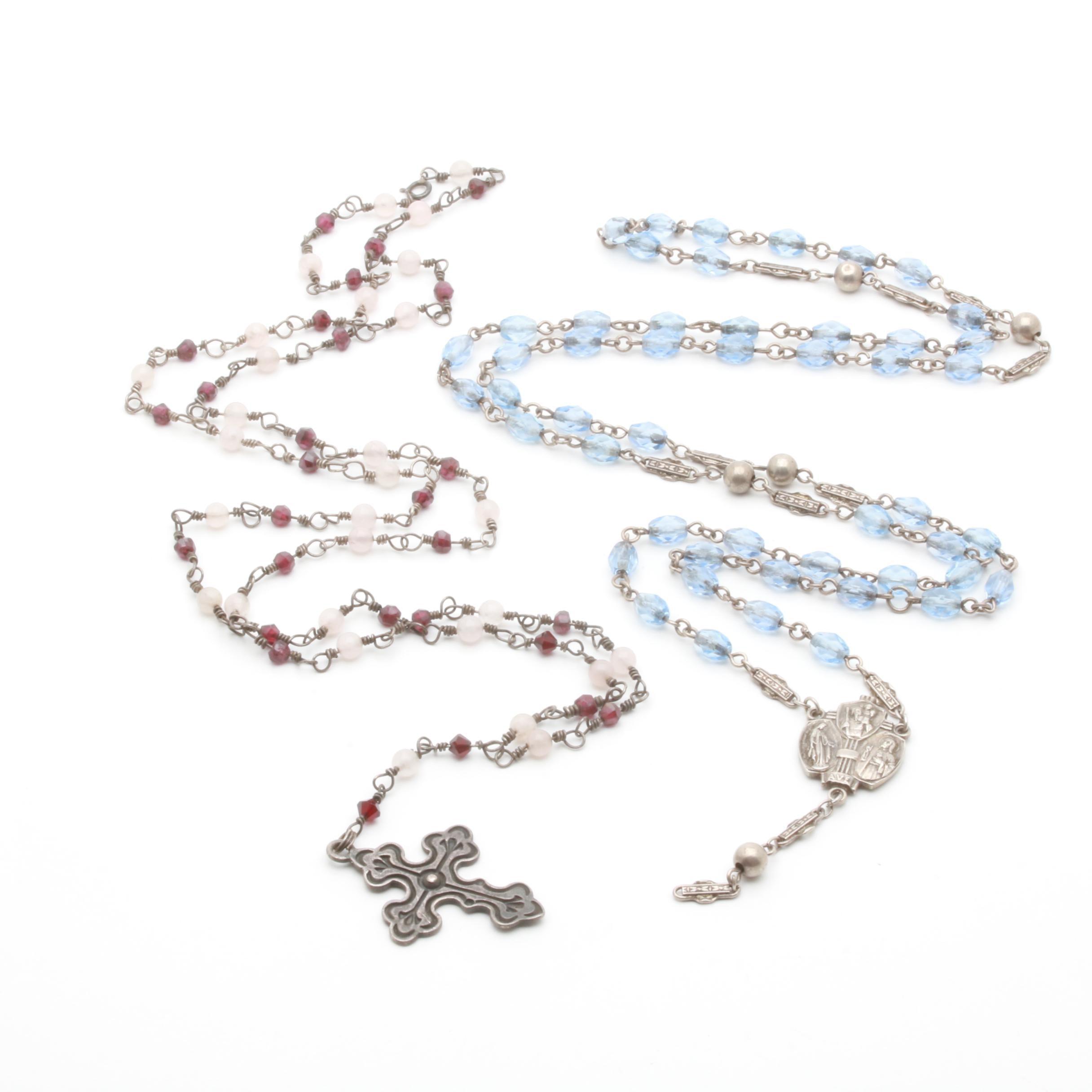 Sterling Silver Rose Quartz, Garnet and Glass Rosaries