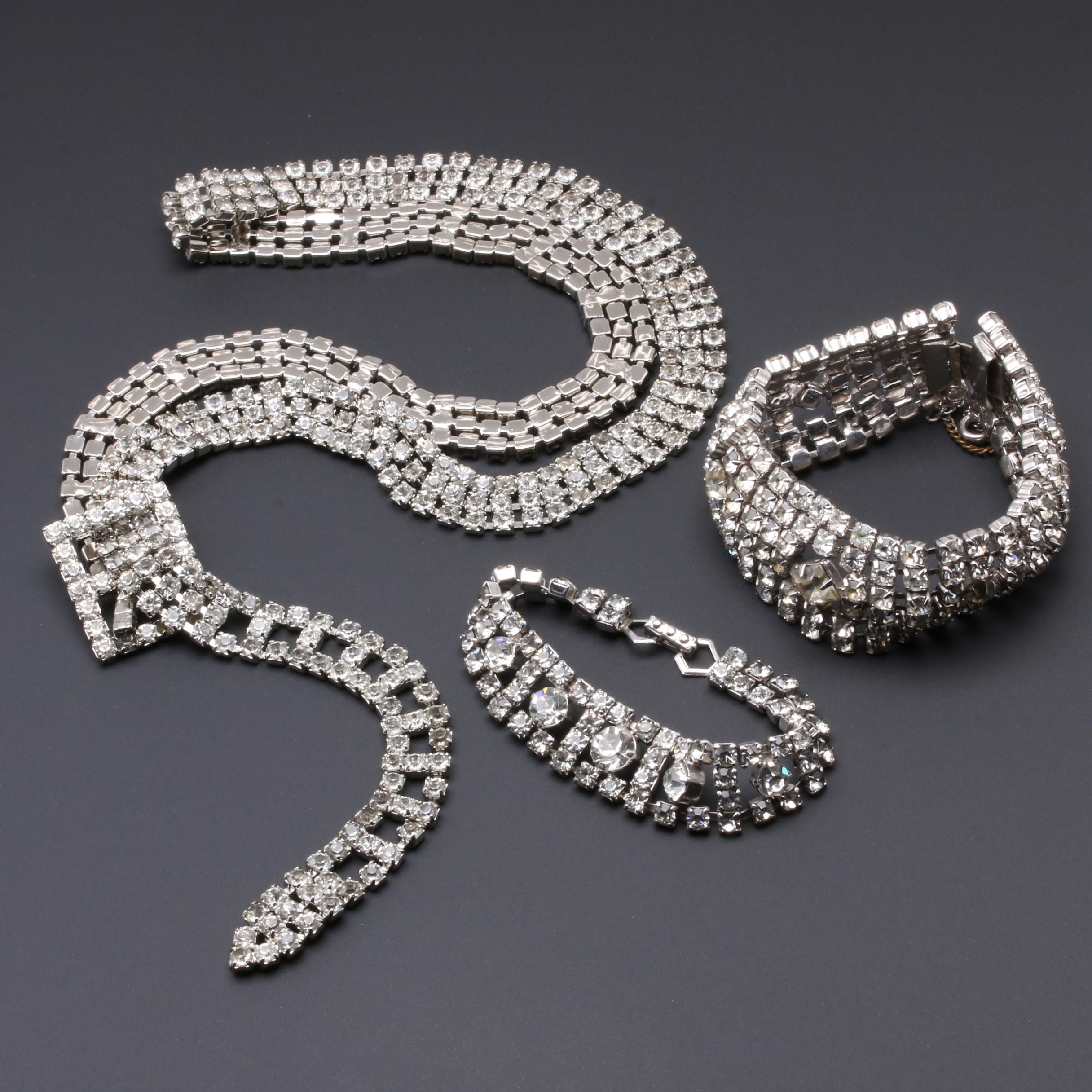 Silver-Tone Foilback Bracelet and Belt Selection Featuring La Rel
