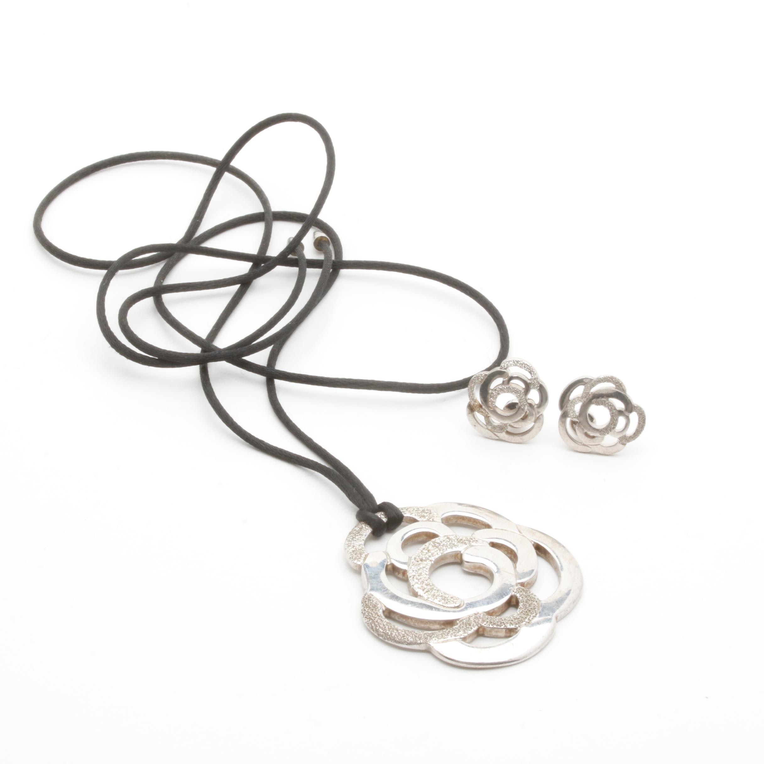Empirio Armani Sterling Silver Earrings and Necklace