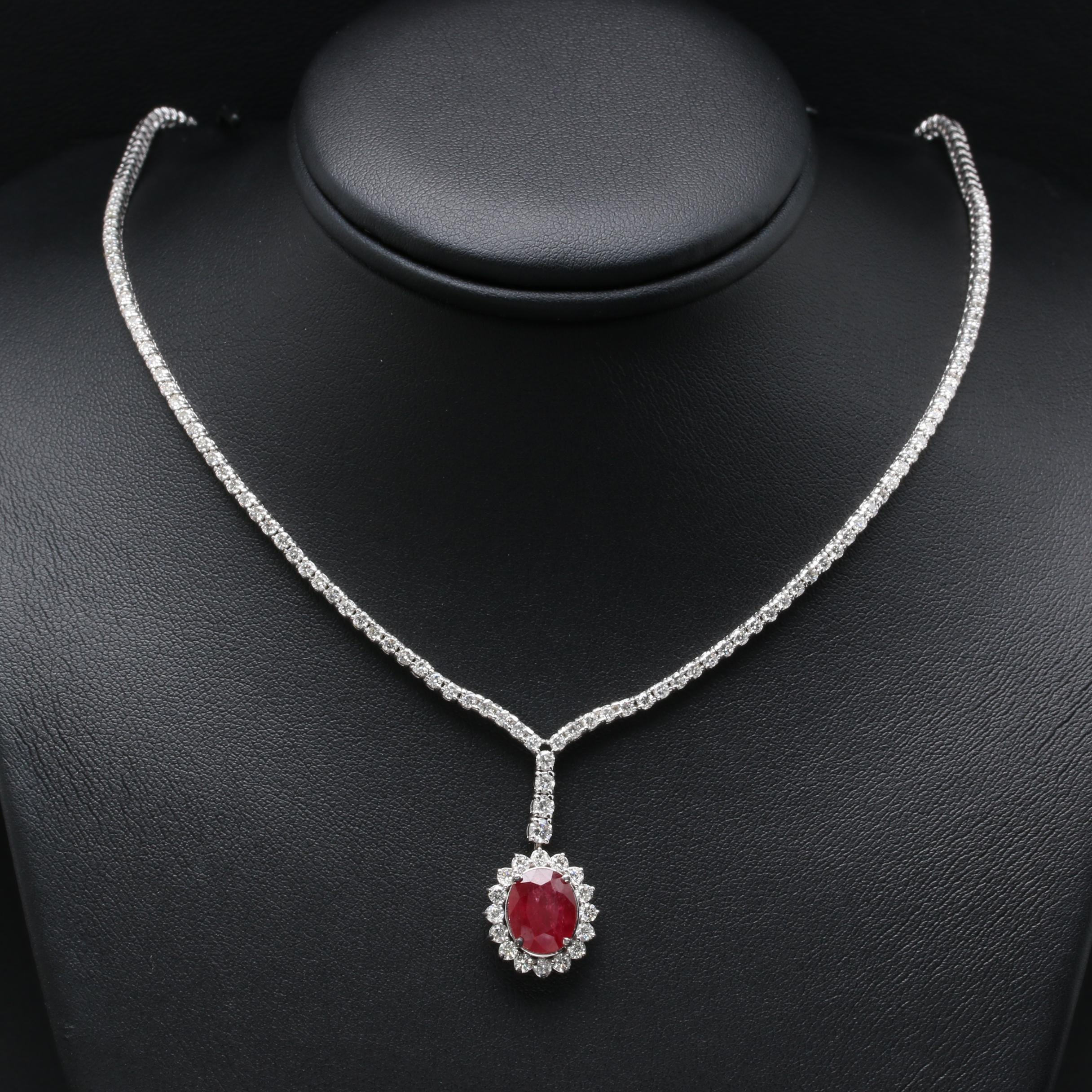 14K and 18K White Gold Glass Filled Corundum and 3.70 CTW Diamond Necklace