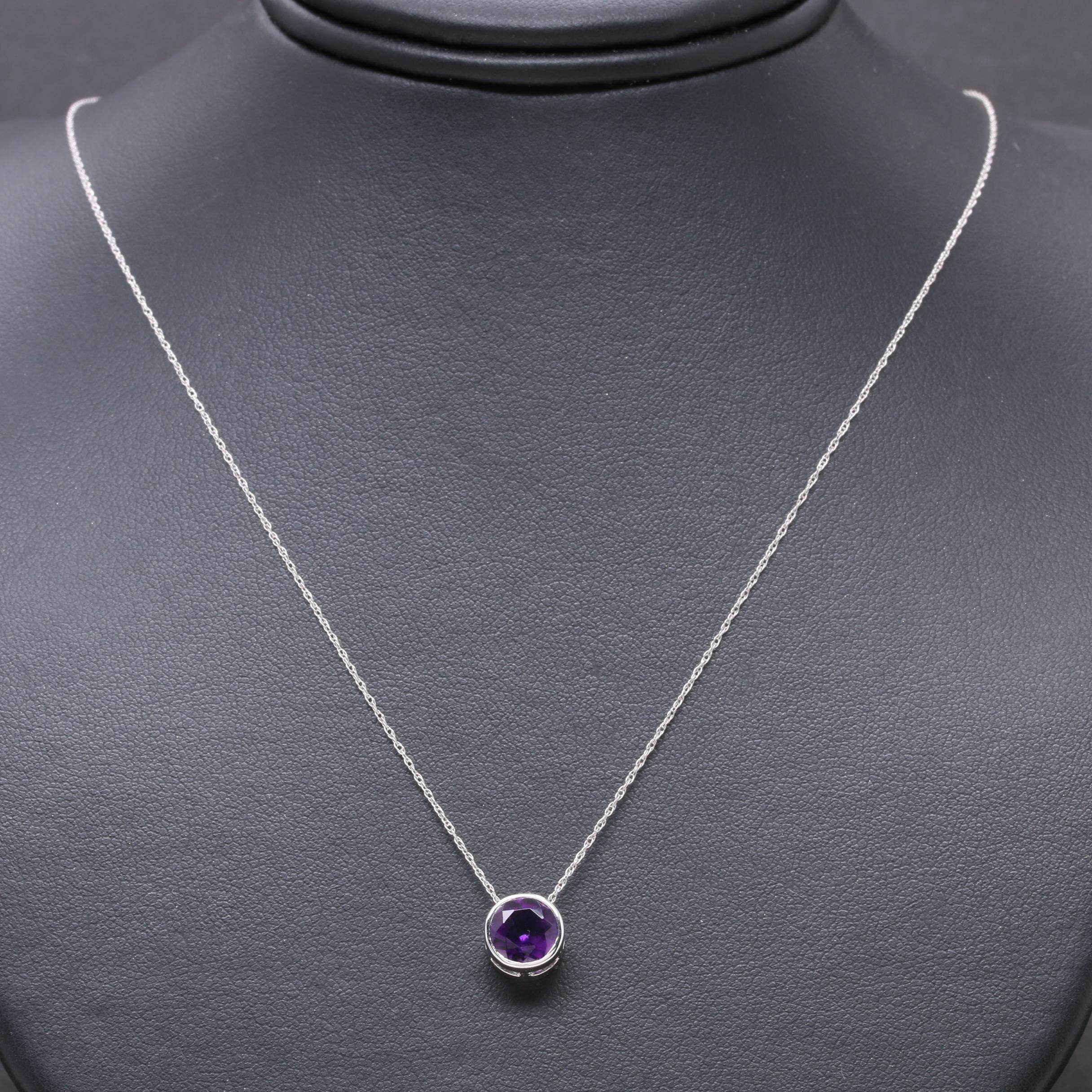 14K White Gold Amethyst Necklace