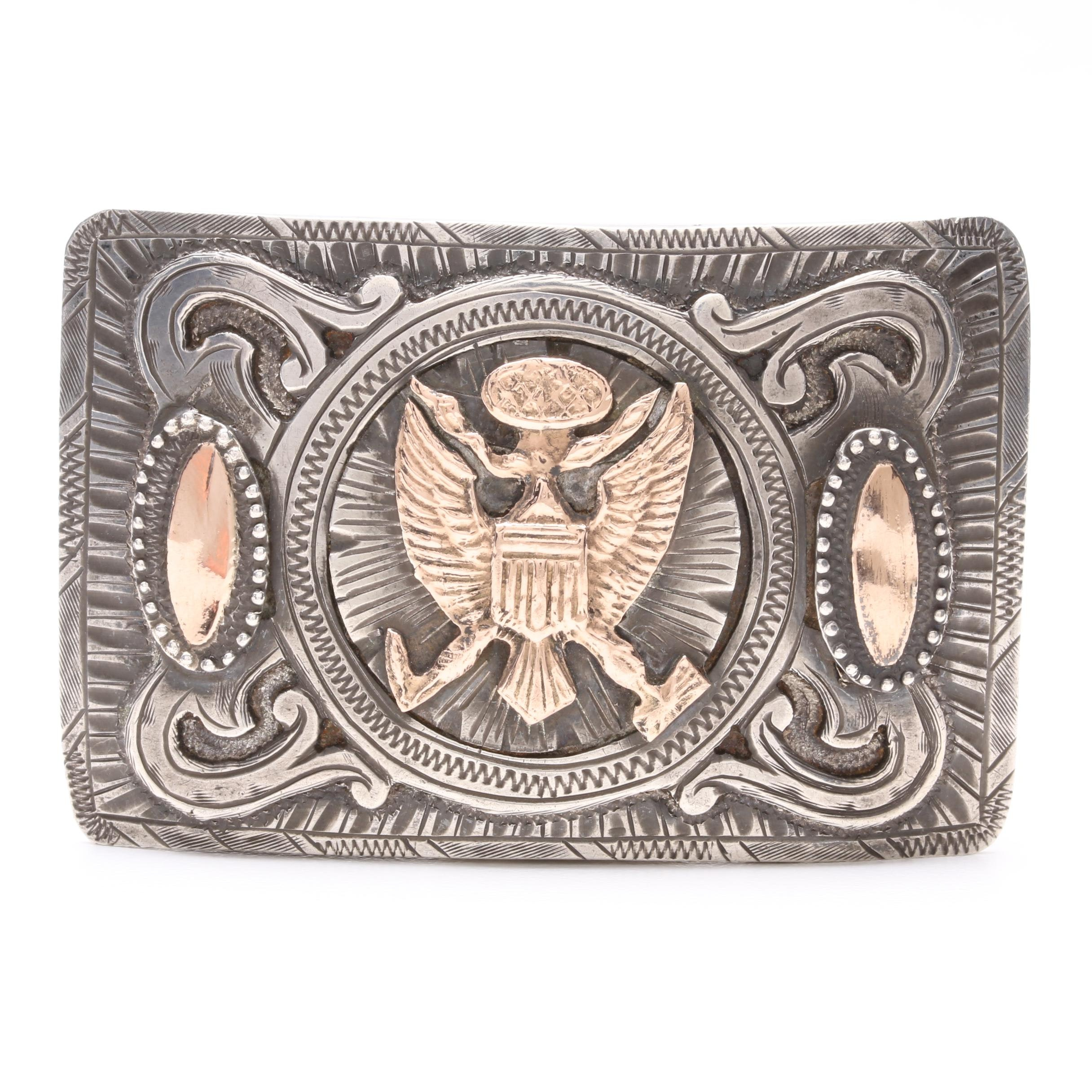 Mexican Made Sterling Silver Belt Buckle with 10K Yellow Gold Accents