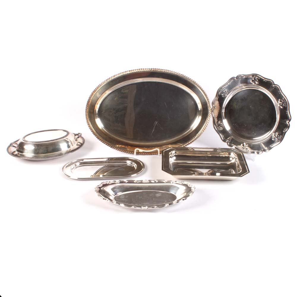 Plated Silver Serveware and Trays featuring F.B. Rogers