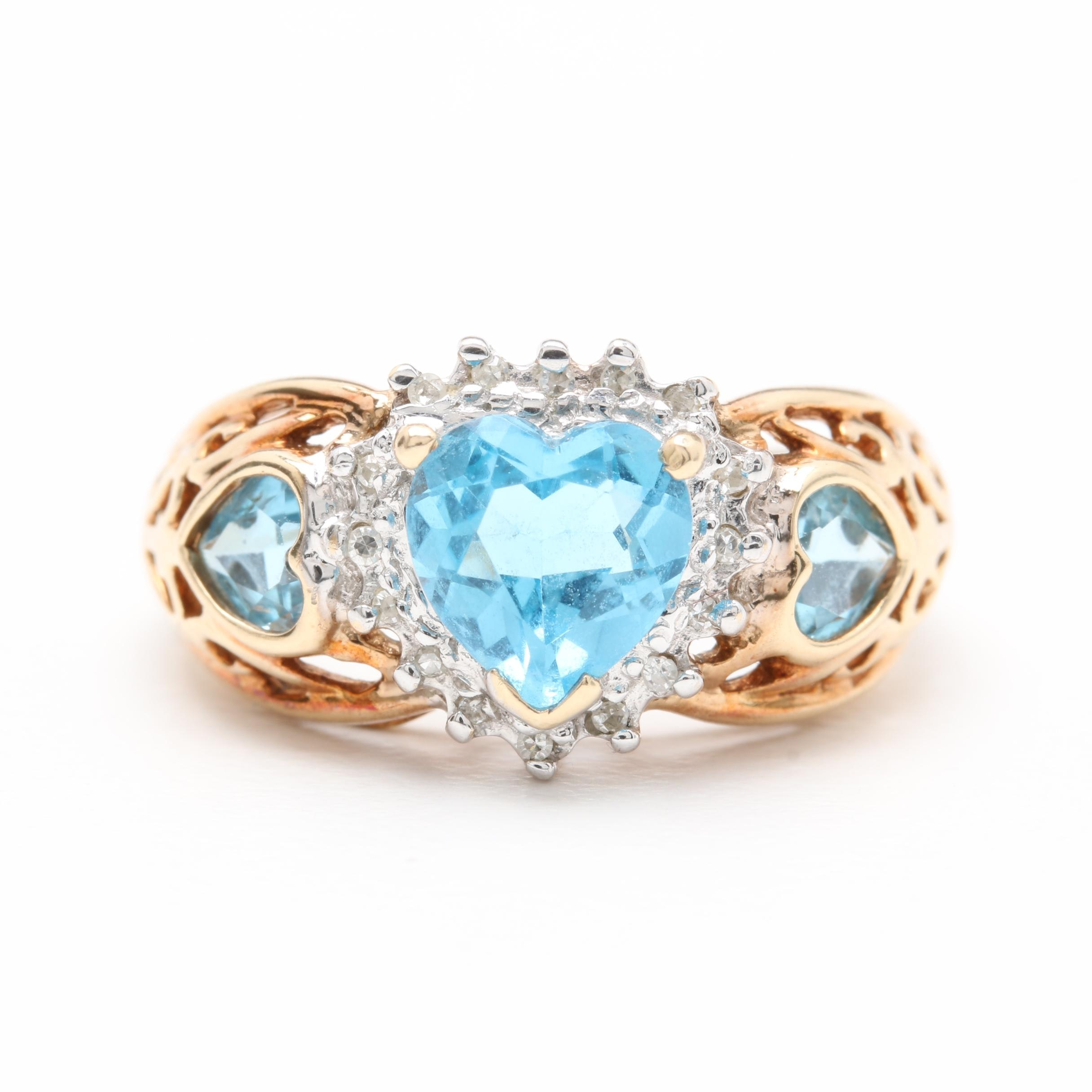 10K Yellow Gold Blue Topaz and Diamond Heart Ring