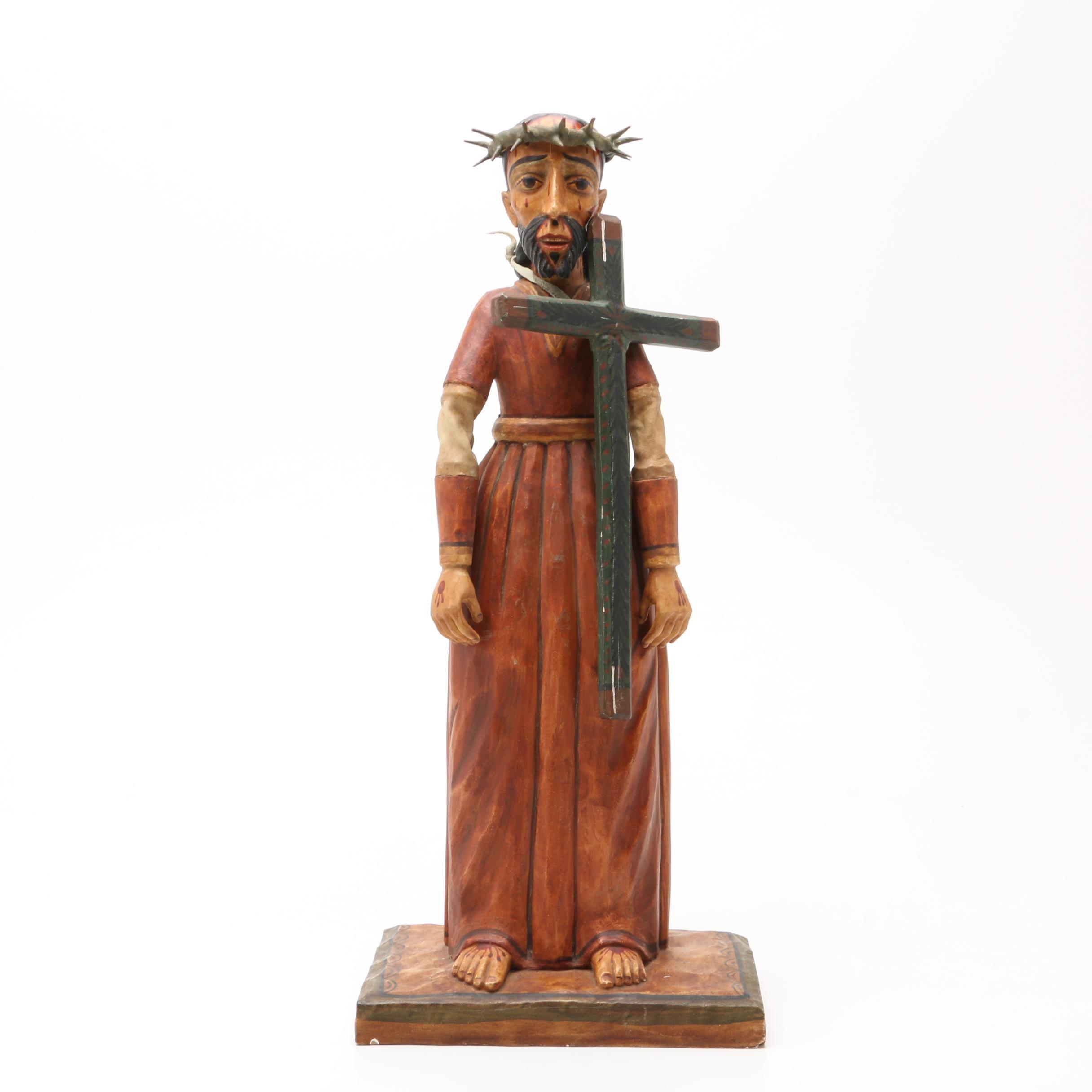 """""""Jesus Nazareno"""" Carved Figure by Master Santero Alcarie Otero"""
