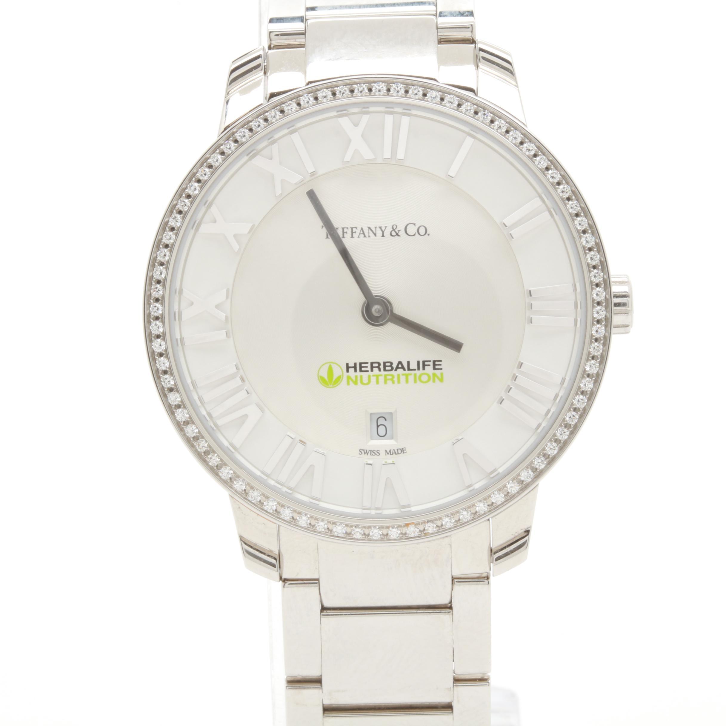 Tiffany & Co. Atlas Stainless Steel Diamond Wristwatch