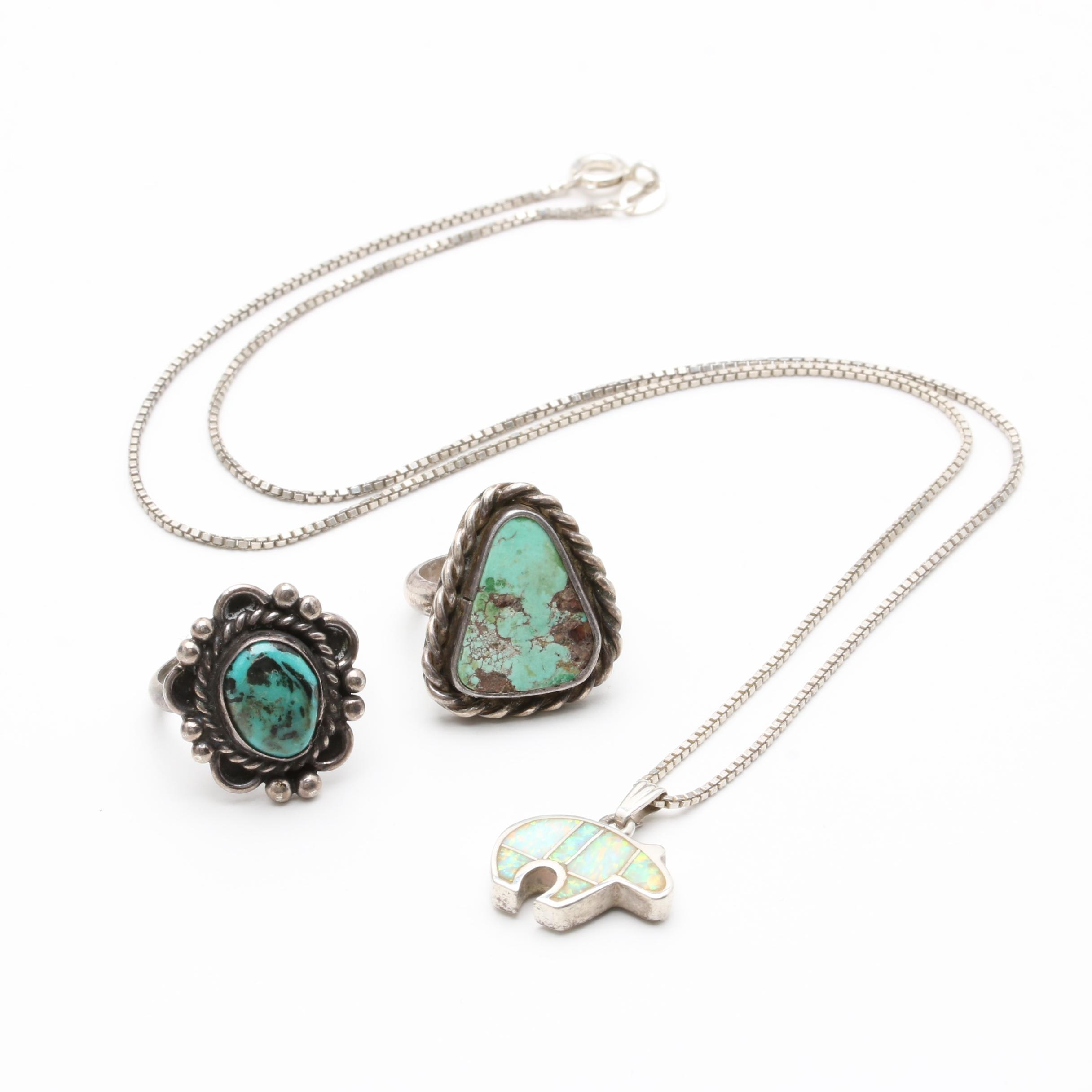 Sterling Southwest Style Turquoise Rings and Synthetic Opal Pendant Necklace