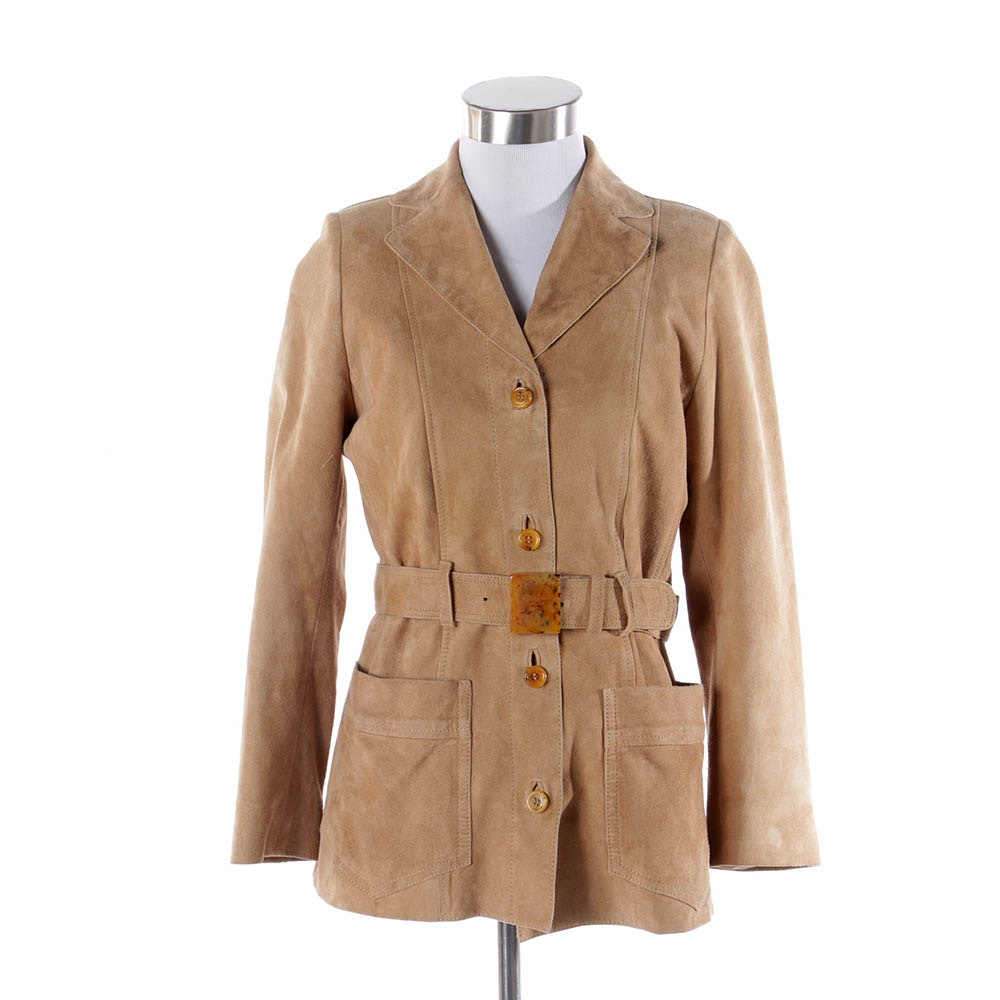Women's Prada Belted Khaki Suede Leather Jacket