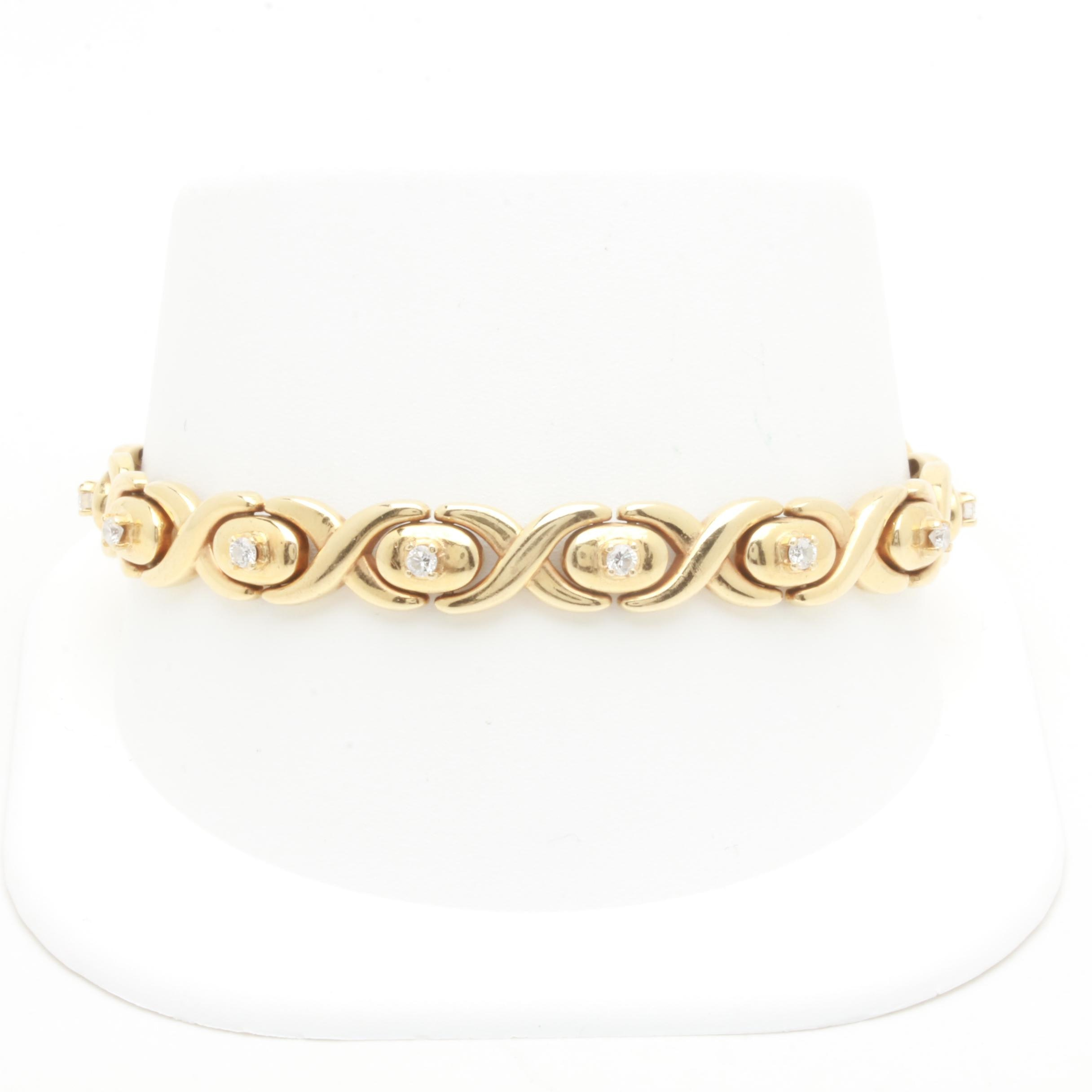 Italian 14K Yellow Gold Diamond Link Bracelet