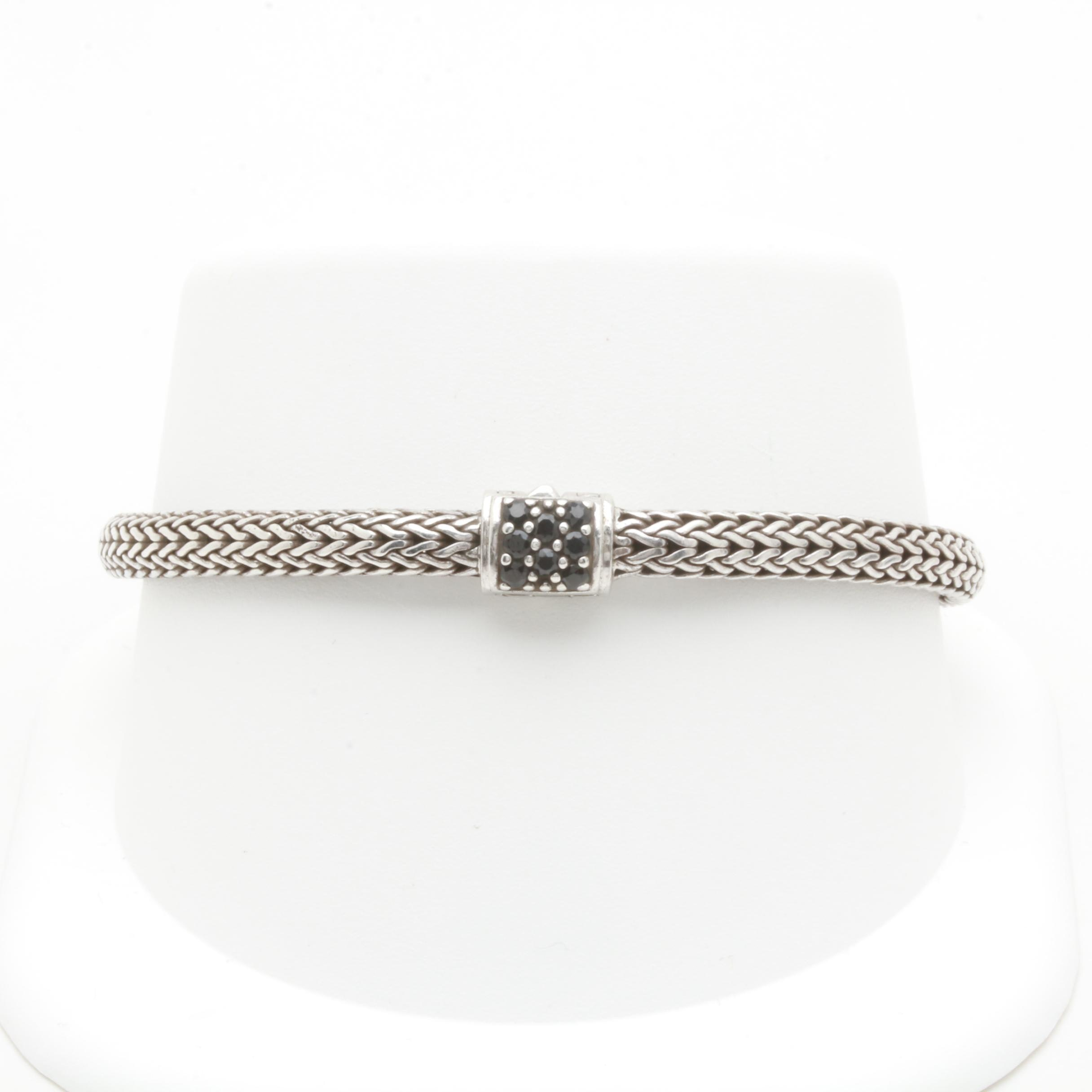 """John Hardy Sterling Silver """"Classic Chain"""" Bracelet with Black Sapphire"""