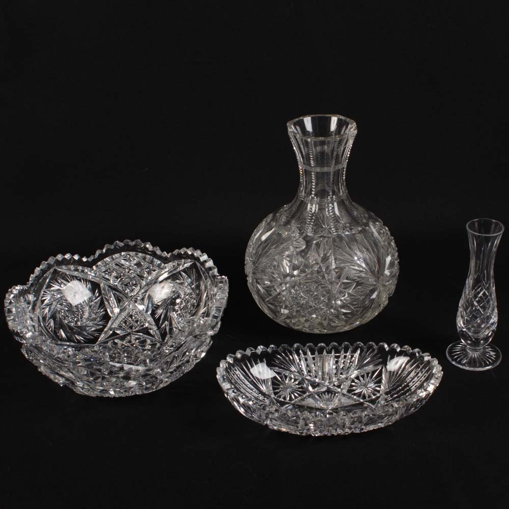 Collection of American Brilliant Period Cut Glass Tableware and Stuart Vase