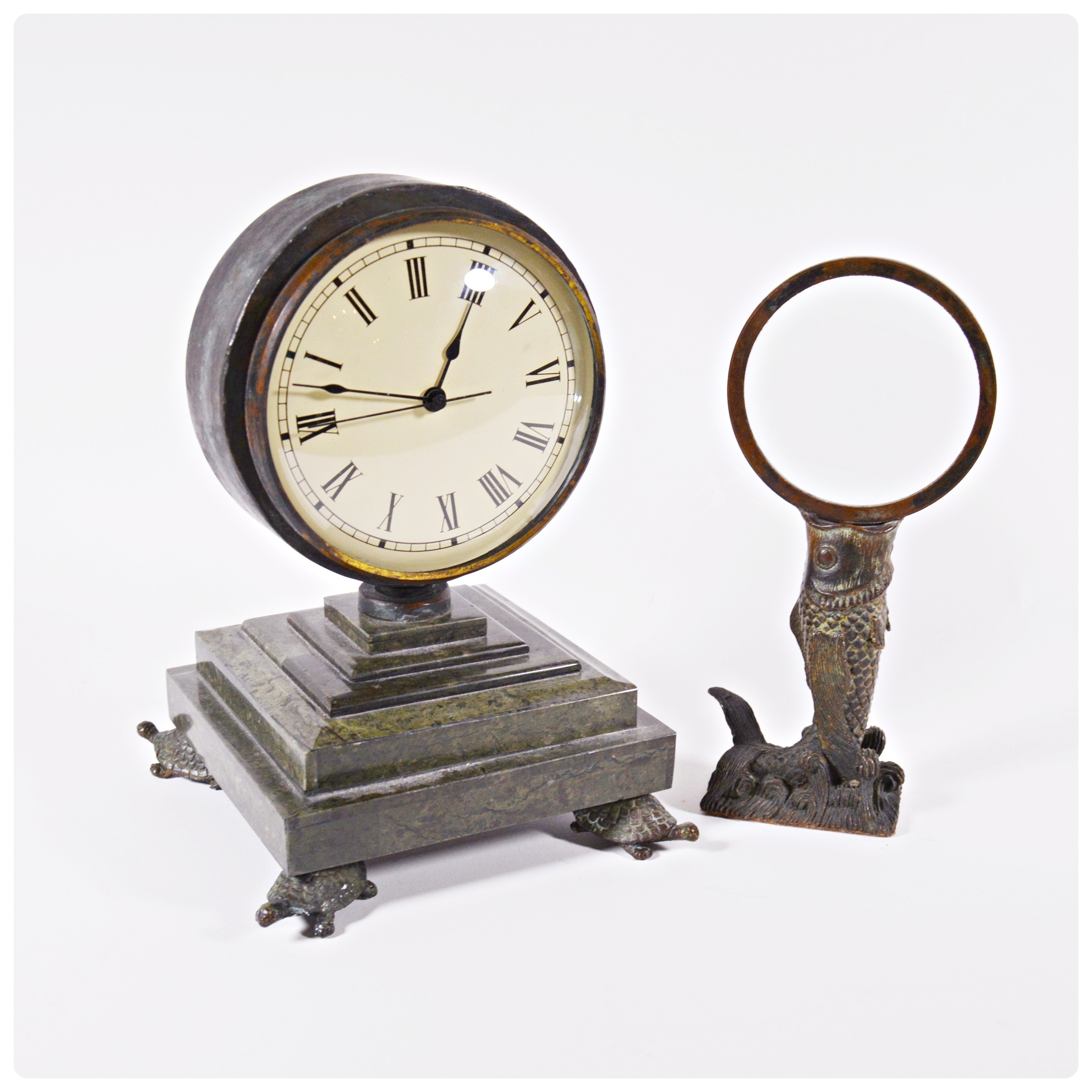 Maitland-Smith Turtle Foot Mantle Clock and Carp Magnifying Glass