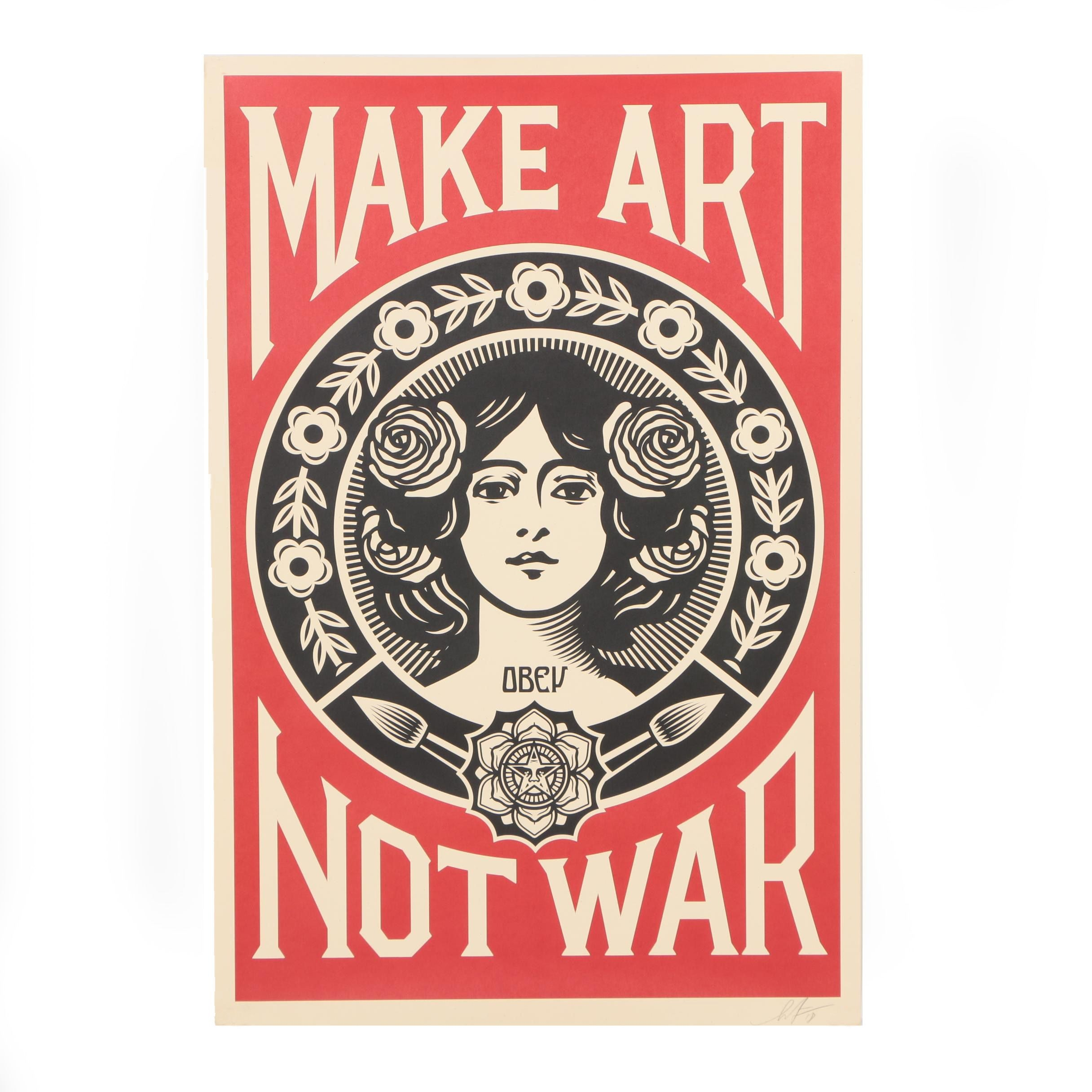 "Shepard Fairey 2018 Open Edition Offset Print ""Make Art Not War"""