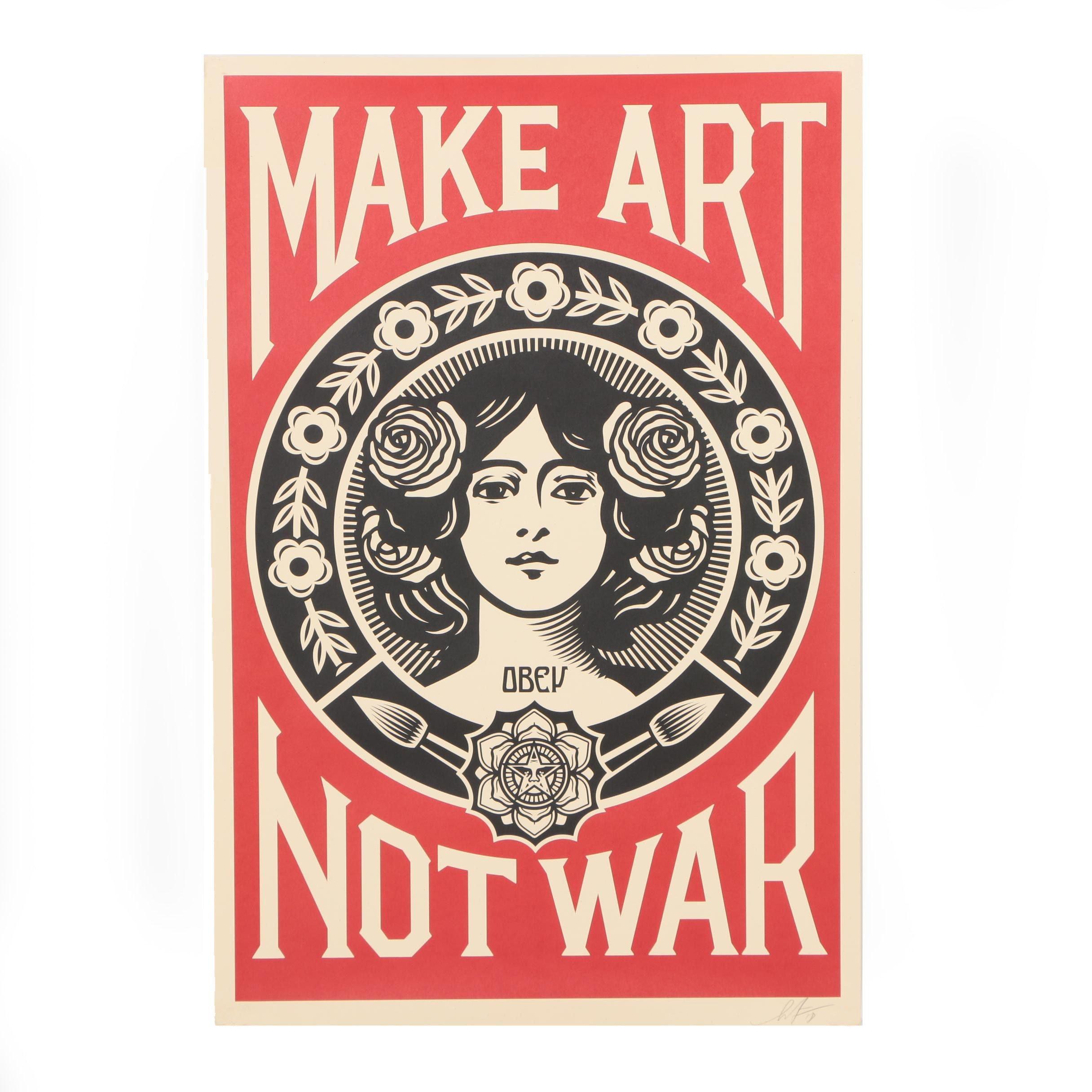 """Shepard Fairey 2018 Open Edition Offset Print """"Make Art Not War"""""""