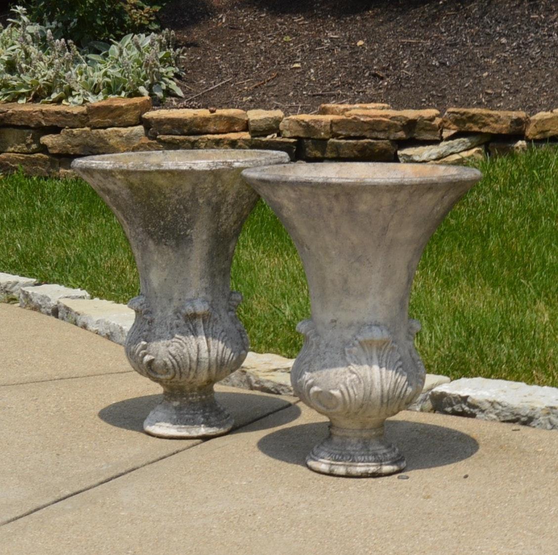 Pair of Lightweight Fiberglass Urn Planters