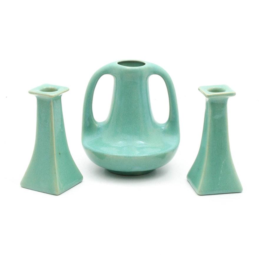 Muncie Arts And Crafts Vase And Candlesticks Ebth