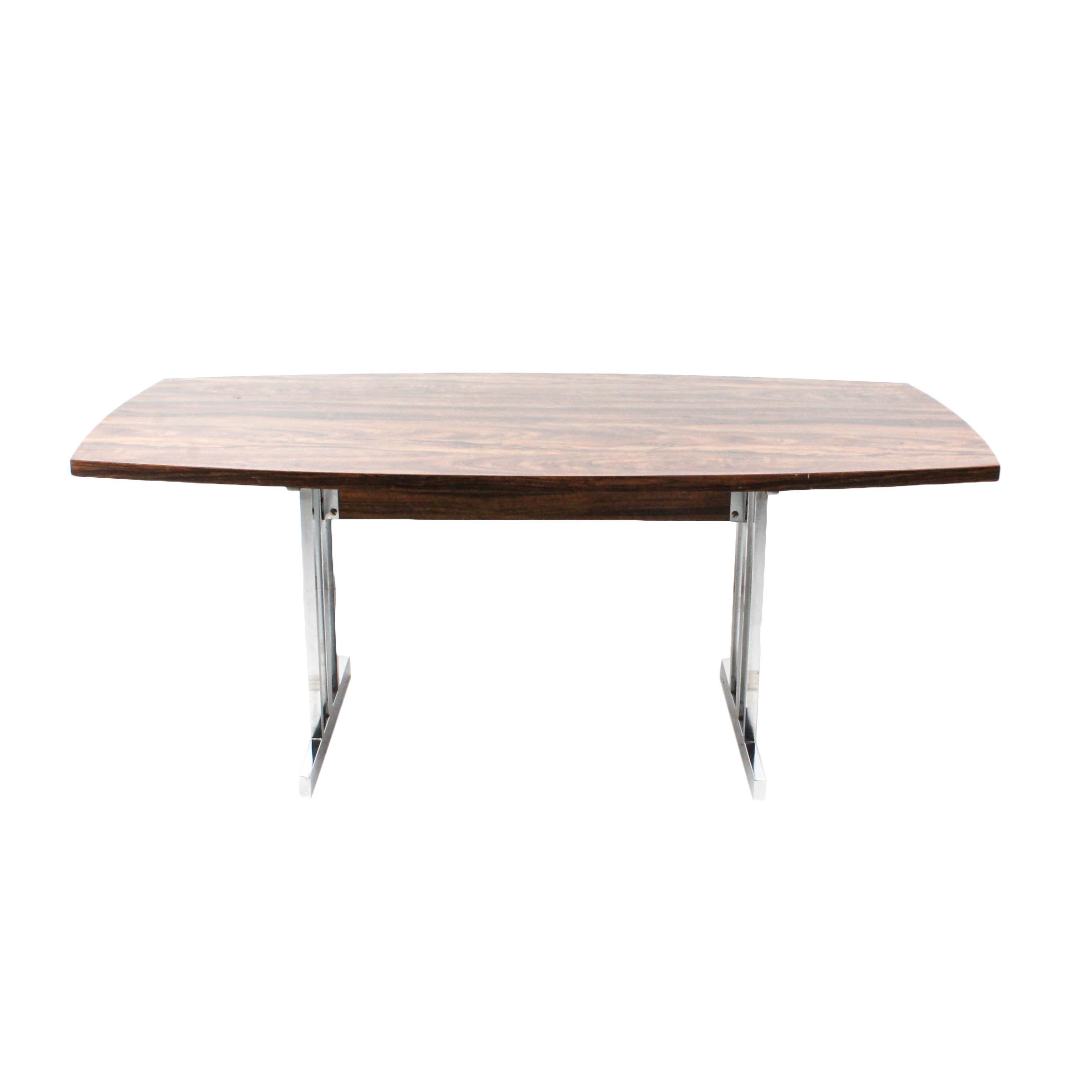 Modernist Walnut Laminate and Chrome Dining Table