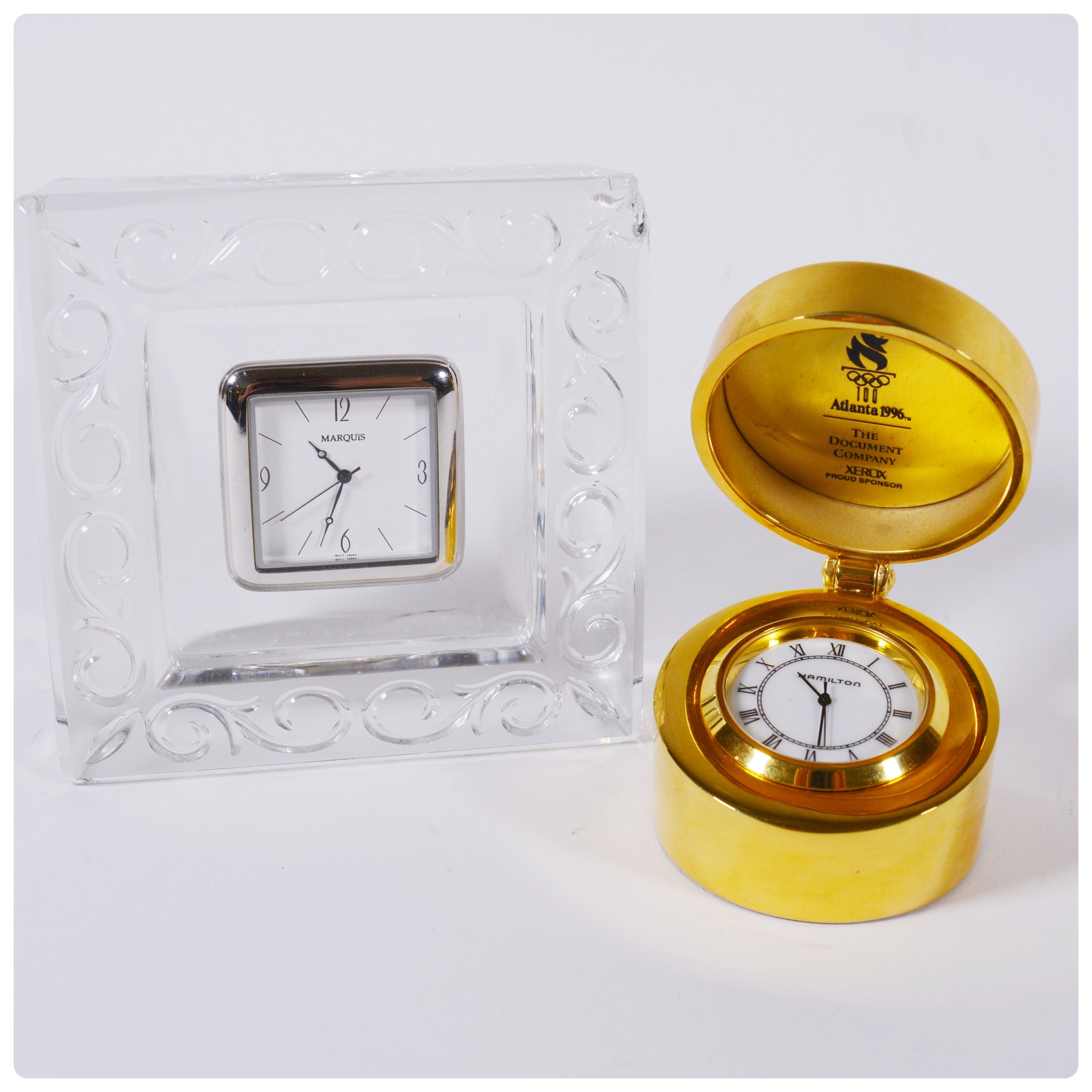Marquis by Waterford Crystal Desk Clock and Hamilton Travel Clock