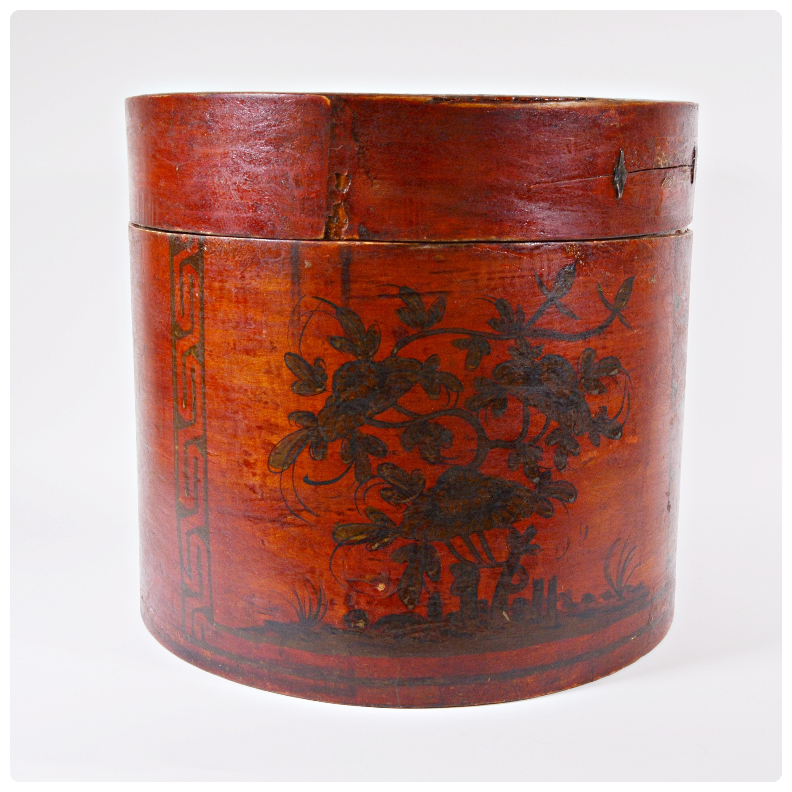 Antique Asian Style Wood Hat Box
