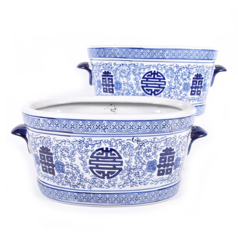 Chinese Blue and White Ceramic Planters