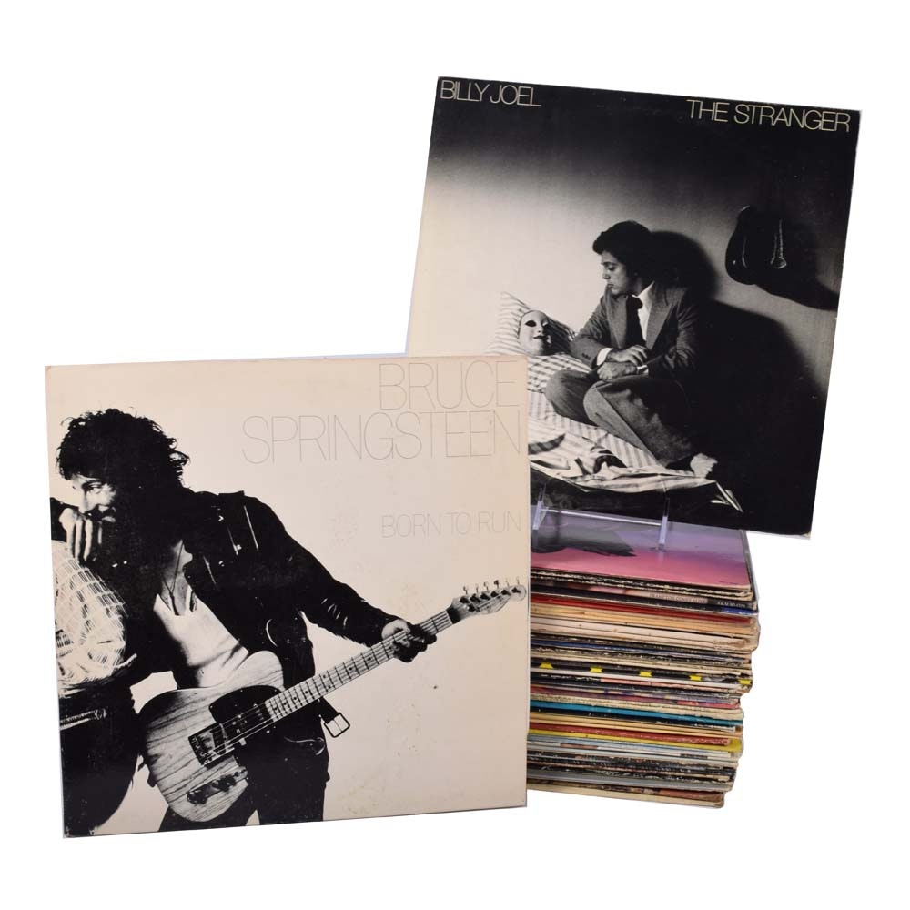 Eclectic Grouping of Records Featuring Billy Joel and Bruce Springsteen