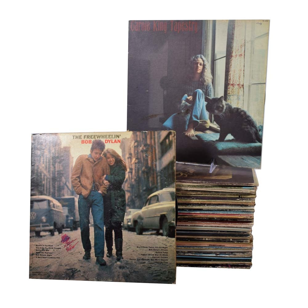 Eclectic Grouping of Records Featuring Bob Dylan and Carole King