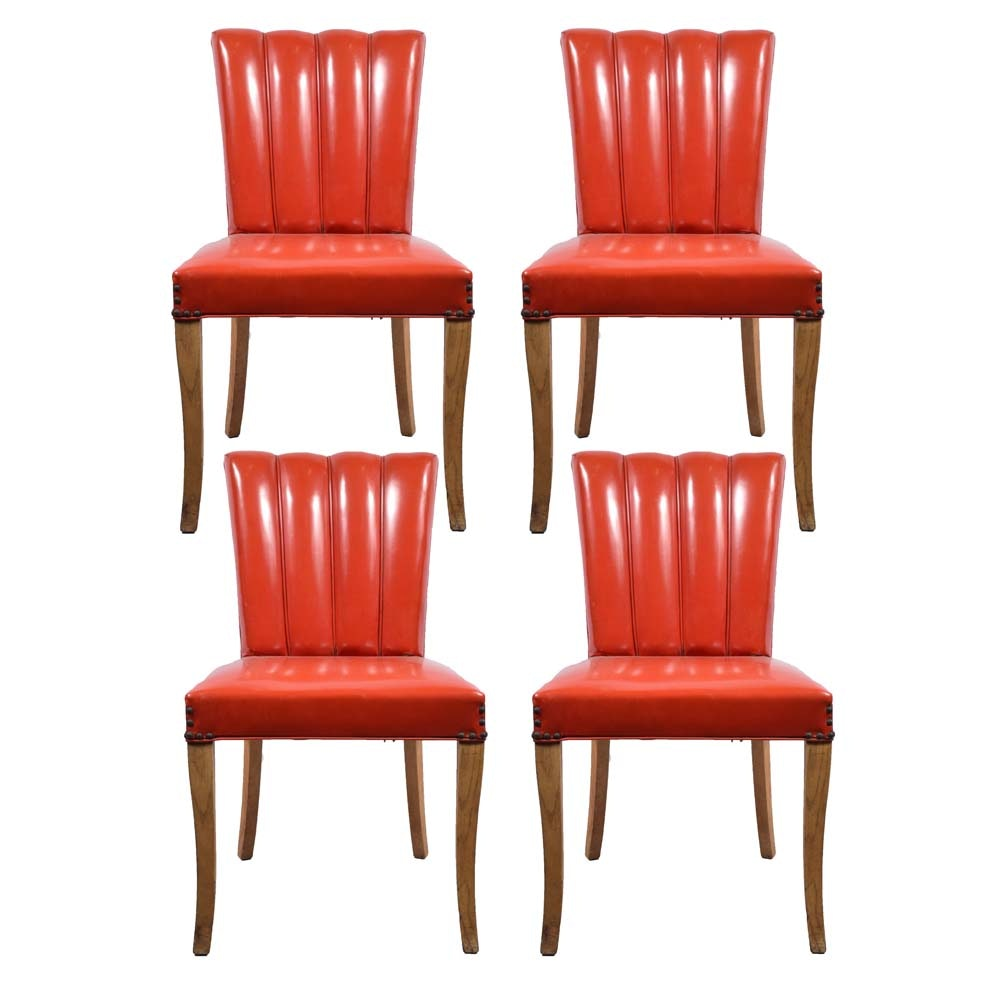 Vintage Mid-Century Channel-Back Dinette Chairs by Leonard
