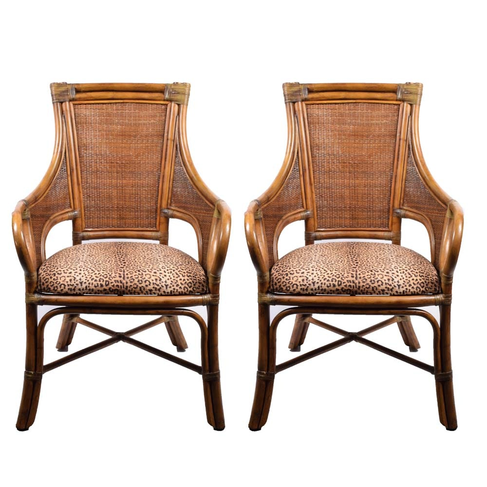 Island Colonial Rattan and Woven Cane Arm Chairs by Bassett