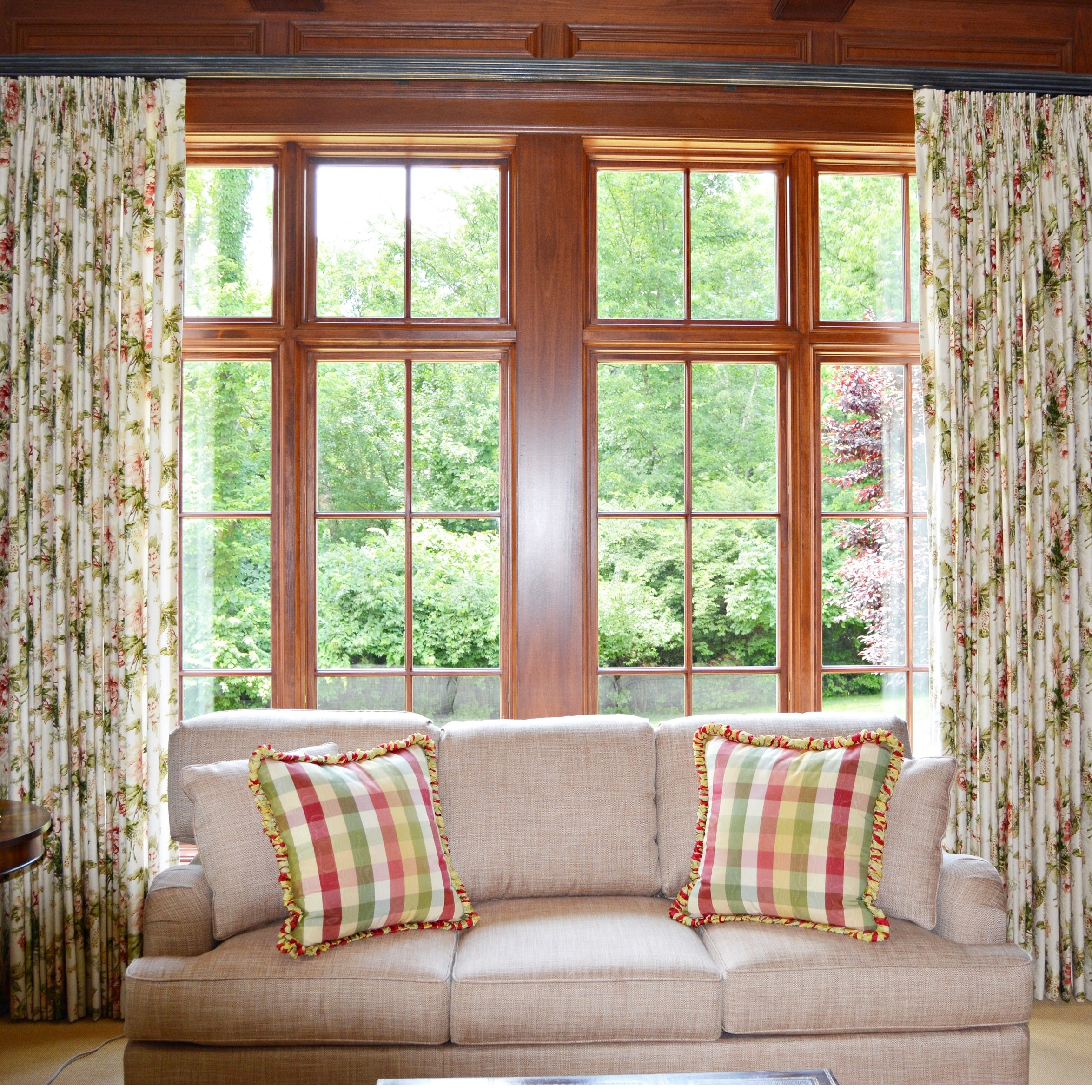 Floral Lined Drapery Panels