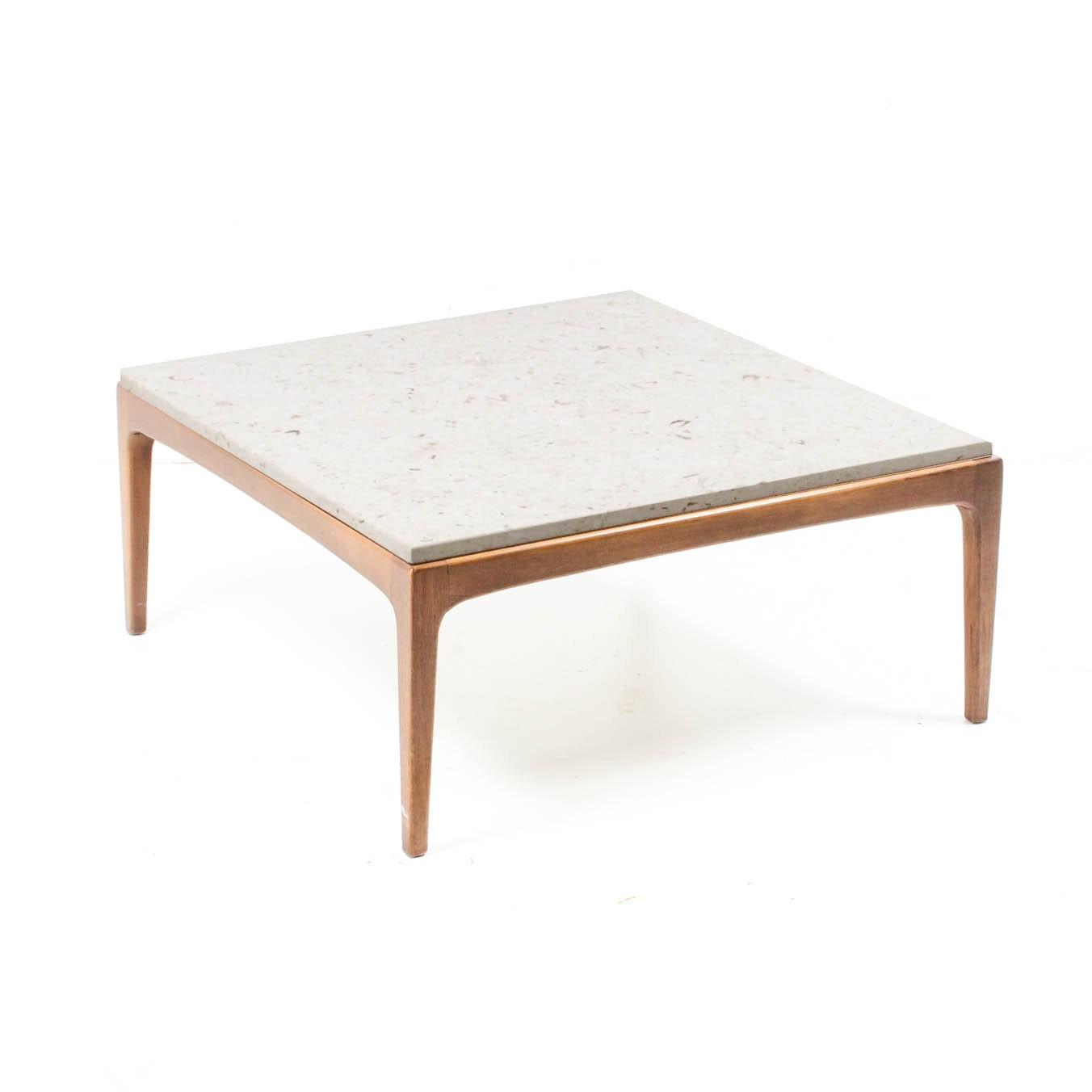 Danish Modern Marble Top Coffee Table