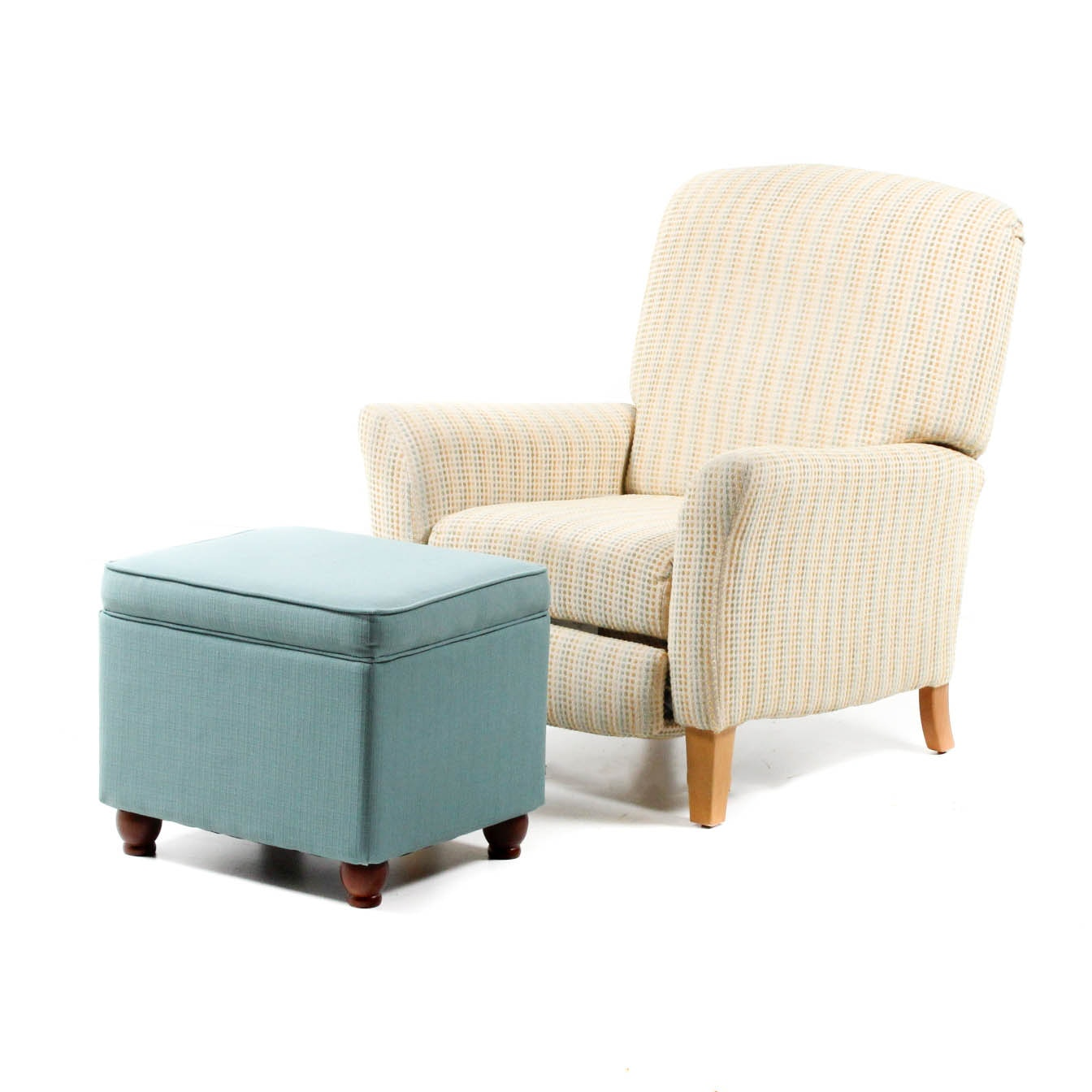 Contemporary Chenille Upholstered Recliner and Ottoman