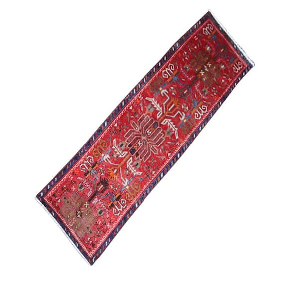 Hand-Knotted Persian Heriz Wool Carpet Runner