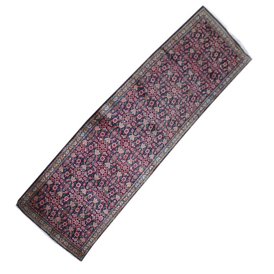 Hand-Knotted Persian Hamadan Wool Carpet Runner