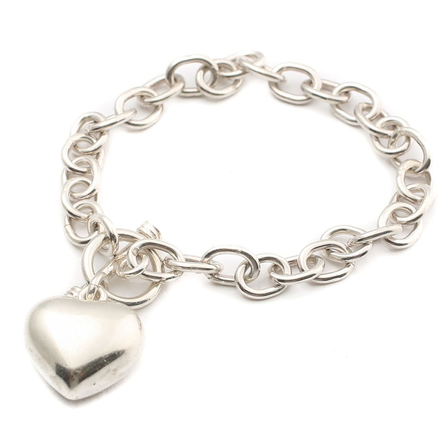 Sterling Silver Oval Link Bracelet with Heart Charm