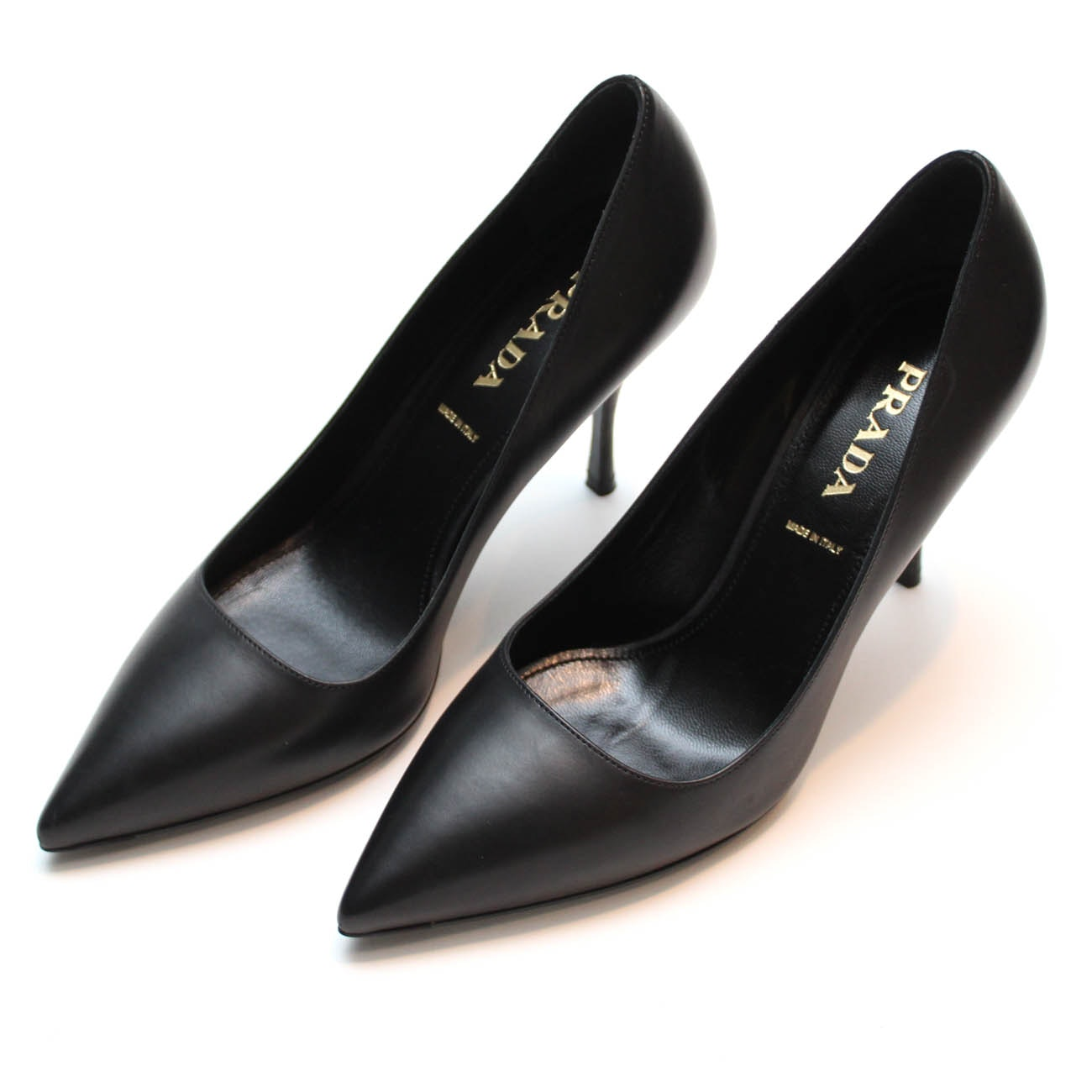 Prada Black Leather Heels