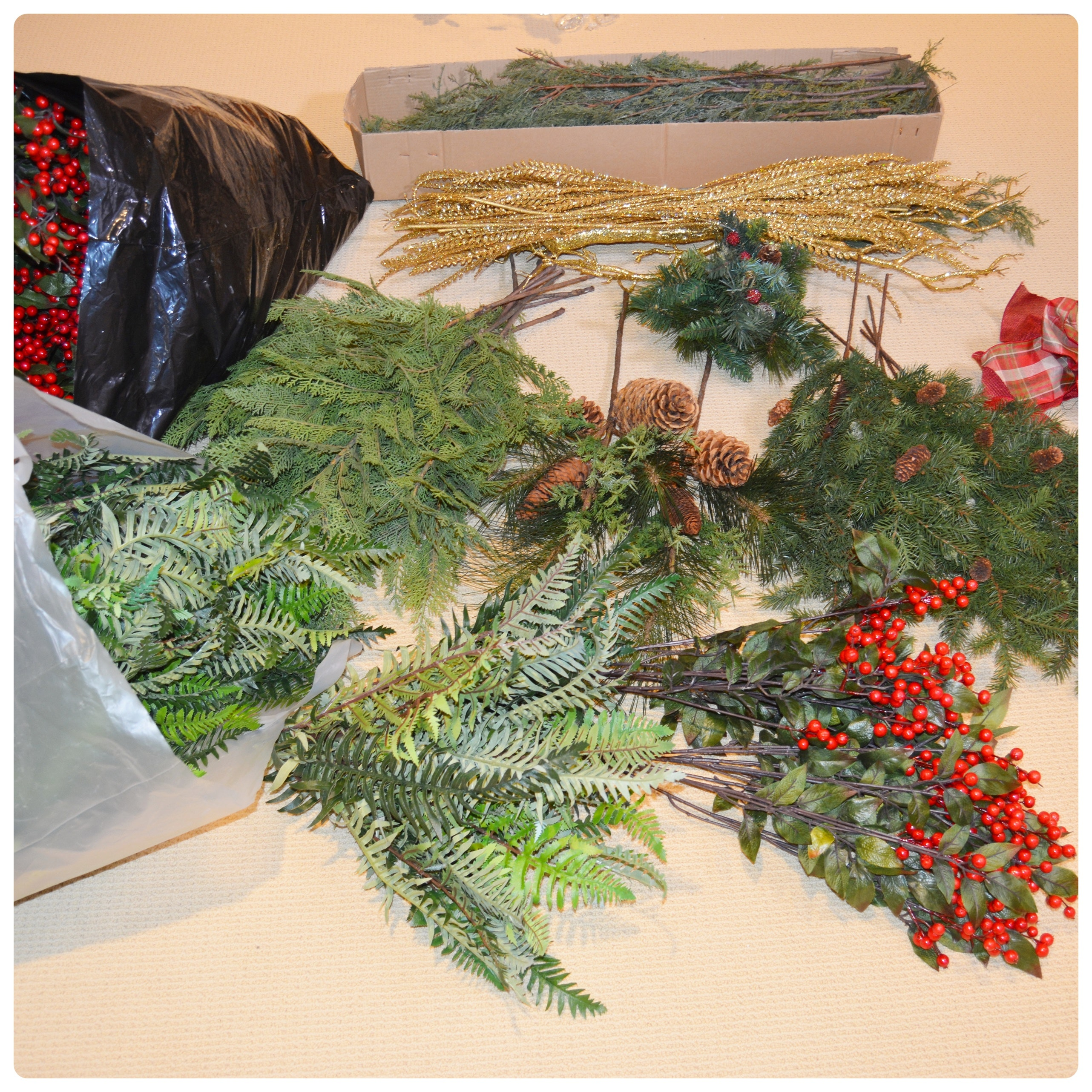 Large Collection of Faux Holiday Greenery