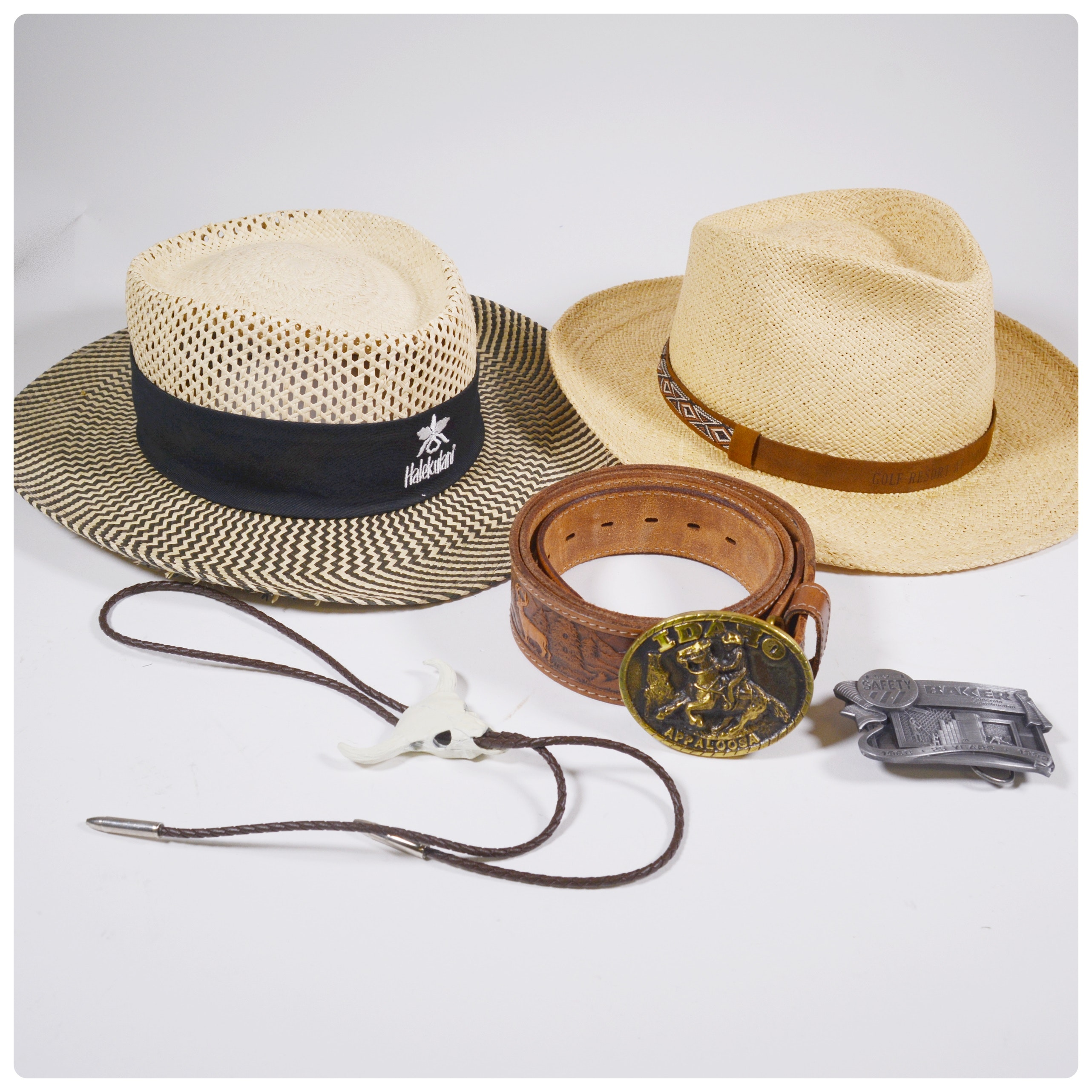 Straw Hats and Leather Belt With Buckles
